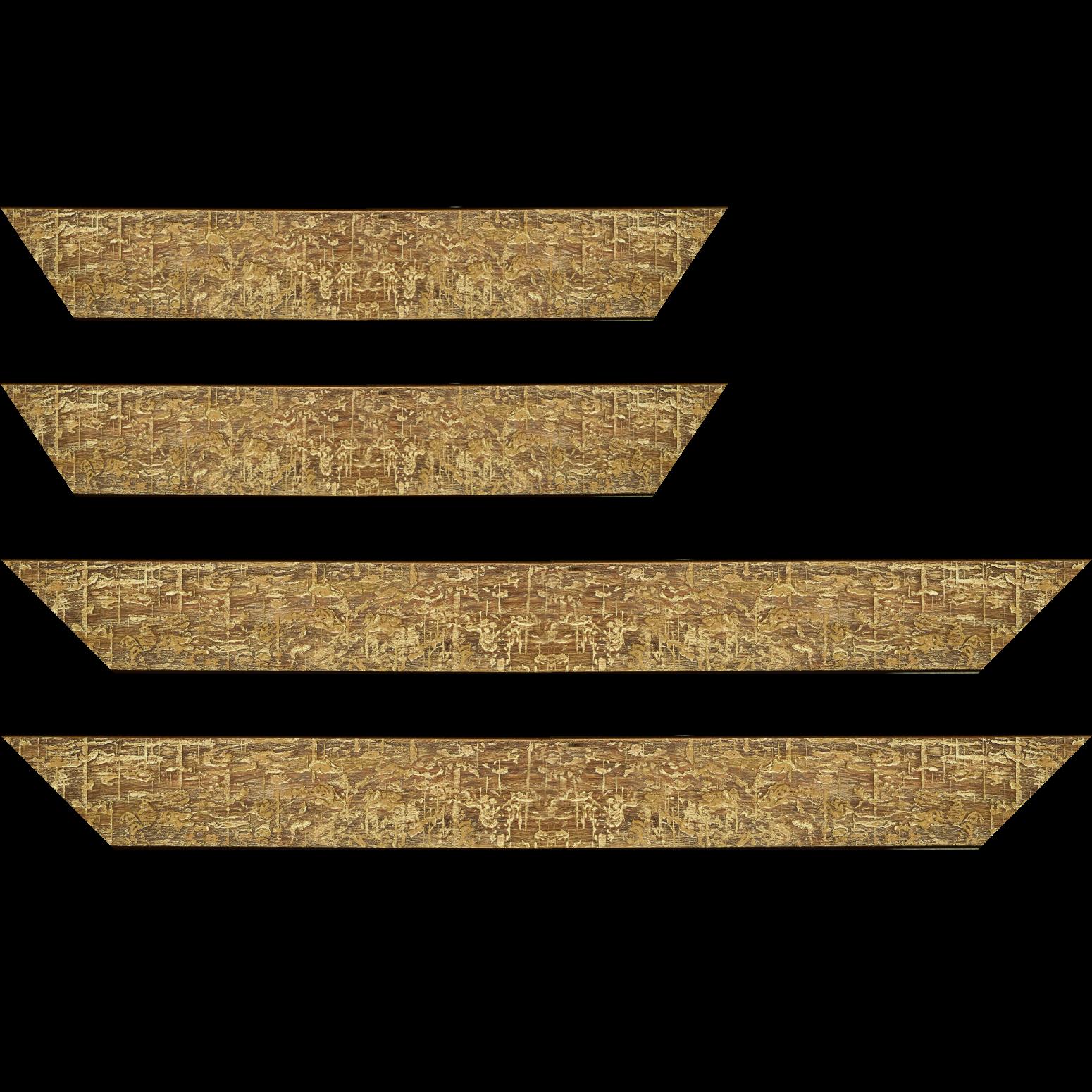 Baguette service précoupé Bois profil plat largeur 5cm couleur marron jauni finition bois brut aspect palette