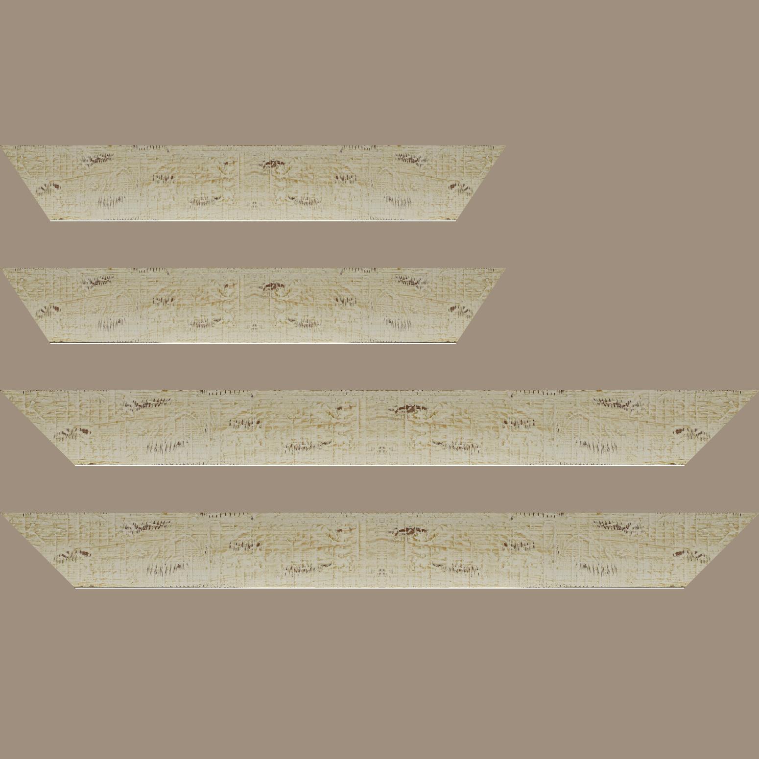 Baguette service précoupé Bois profil plat largeur 5cm couleur blanchie finition bois brut aspect palette