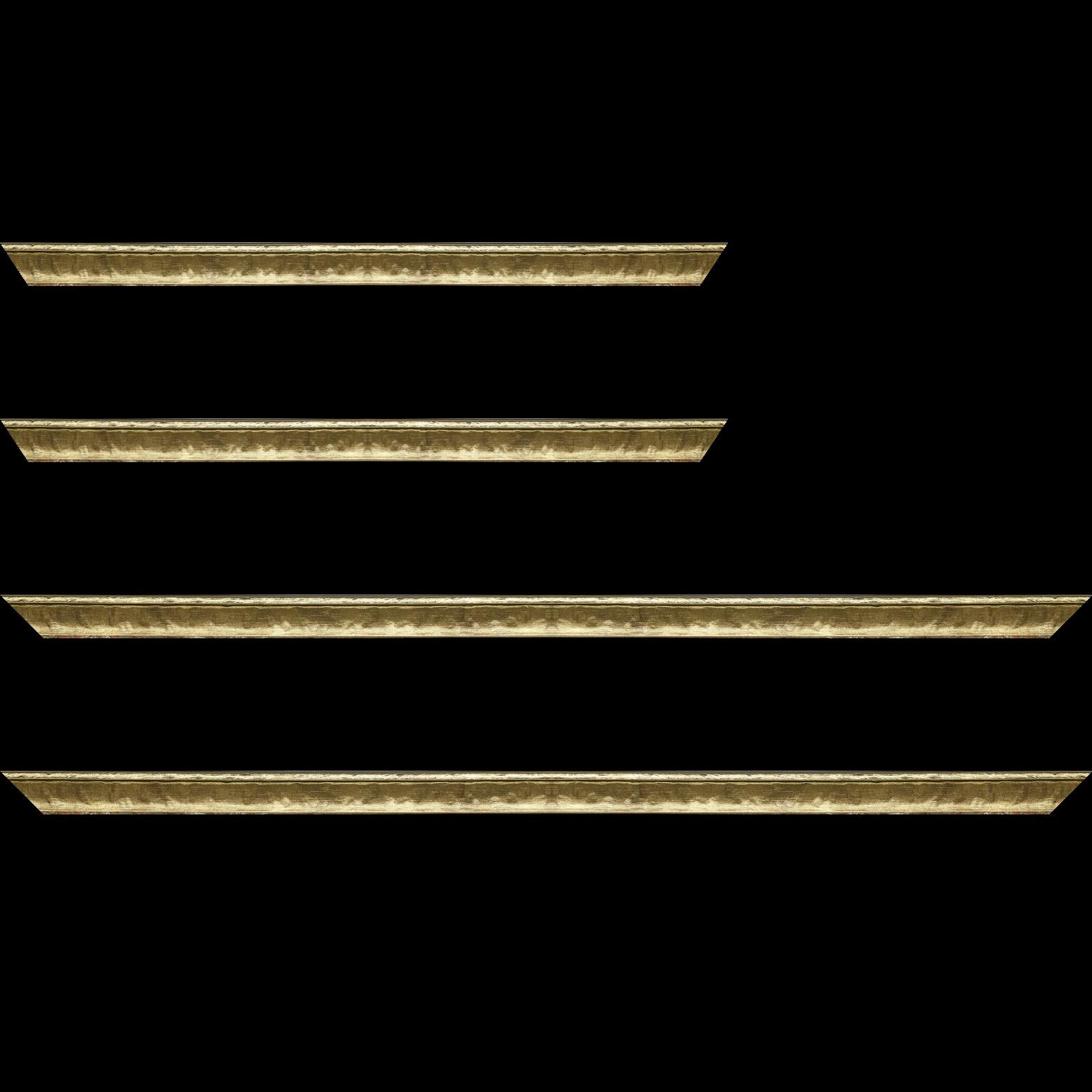 Baguette service précoupé Bois profil incurvé largeur 2cm or bosselé