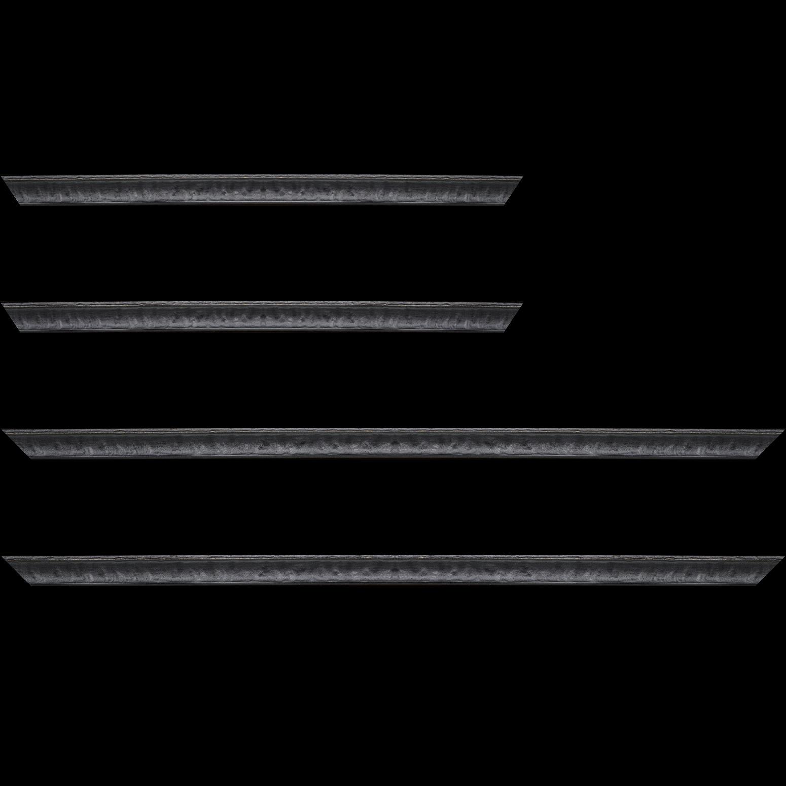 Baguette service précoupé Bois profil incurvé largeur 2cm couleur noir antique bosselé