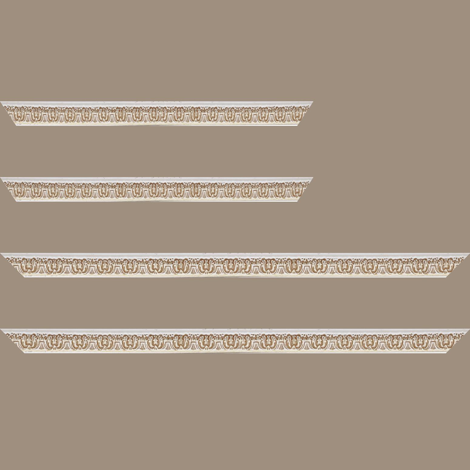 Baguette service précoupé Bois profil incurvé largeur 2.6cm couleur naturel en relief sur fond blanchie