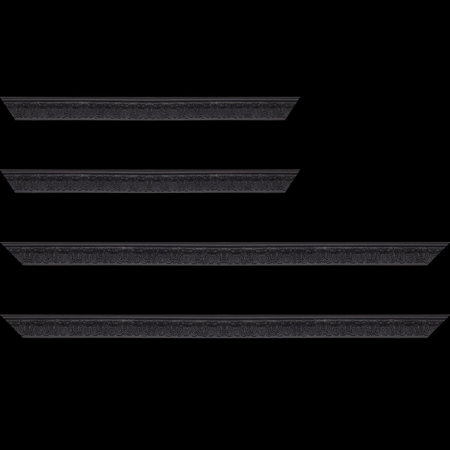 Baguette service précoupé Bois profil incurvé largeur 2.6cm couleur noir en relief sur fond noir