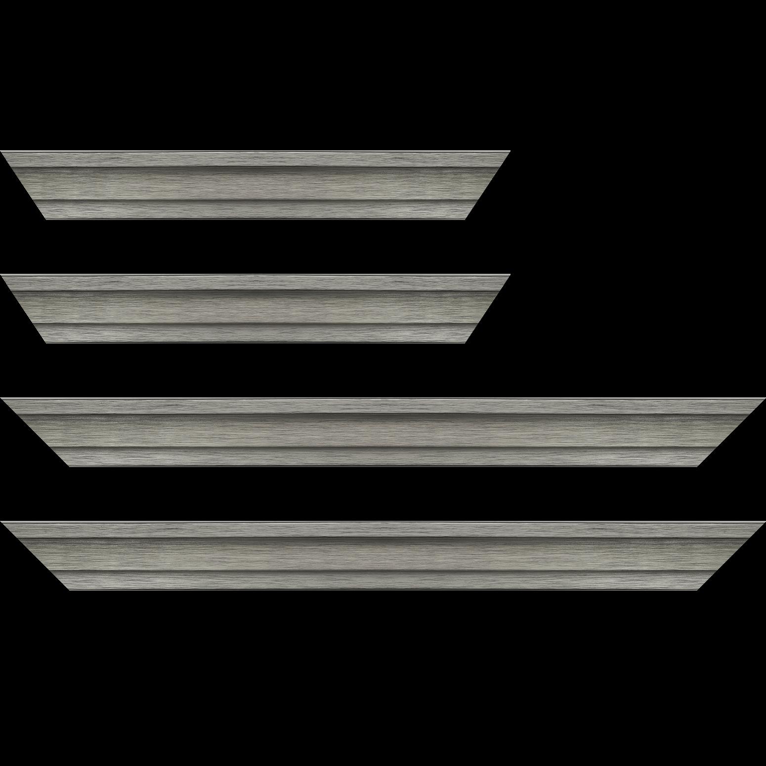 Baguette service précoupé Bois caisse américaine profil escalier largeur 4.5cm couleur plomb (spécialement conçu pour les châssis d'une épaisseur jusqu'à 2.5cm )