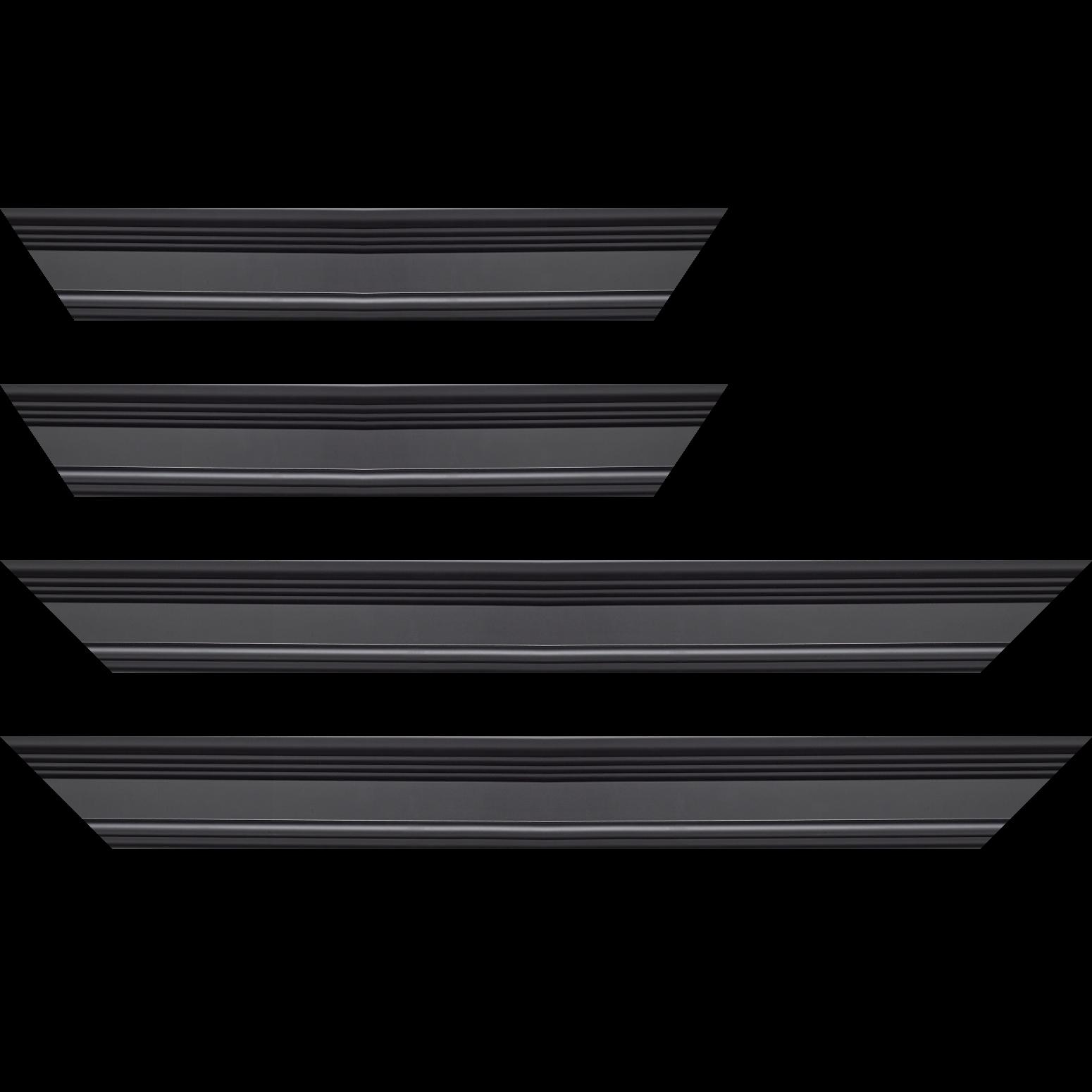 Baguette service précoupé Bois profil braque largeur 5.2cm noir mat finition pore bouché