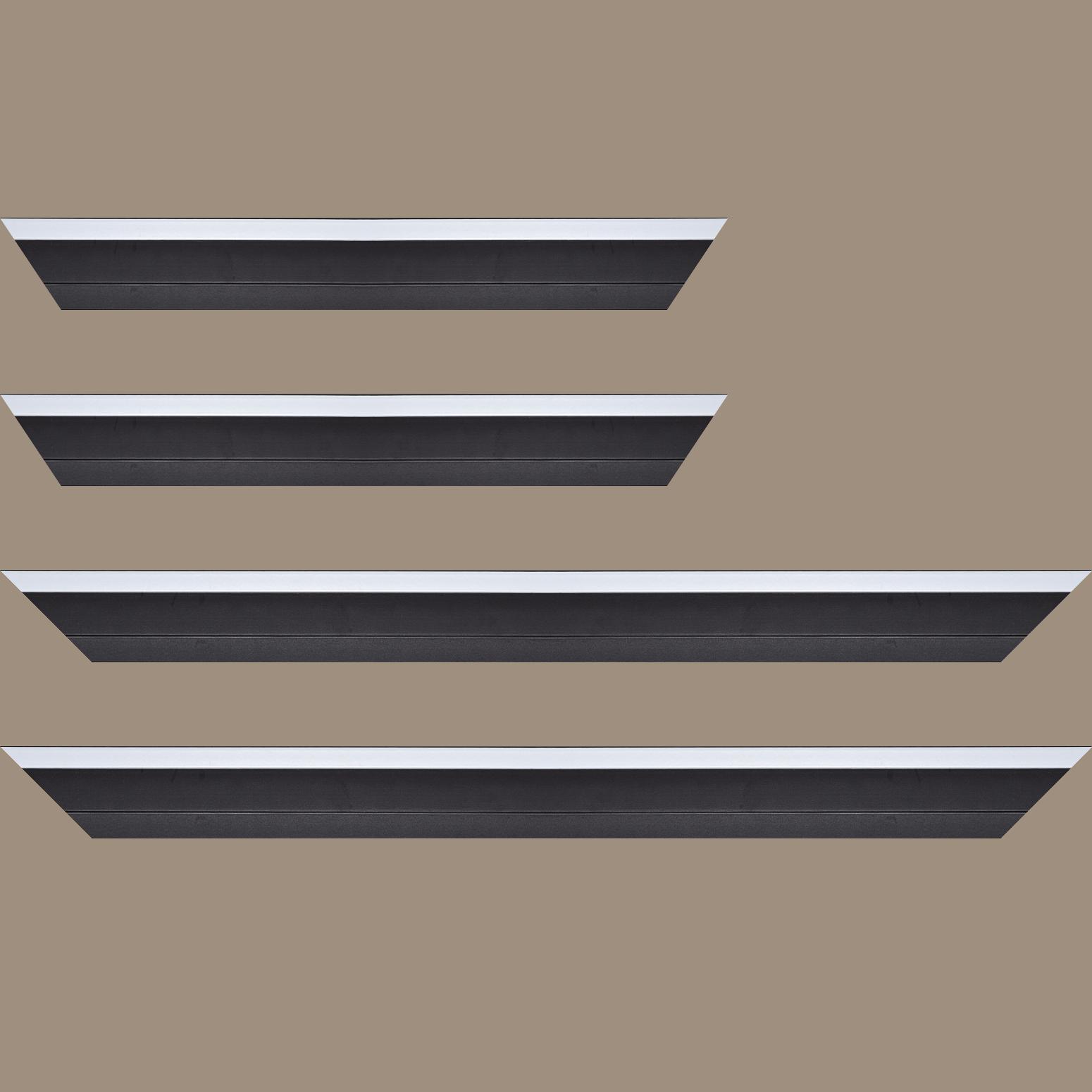 Baguette service précoupé Bois caisse américaine profil escalier largeur 4.5cm noir mat filet blanc (spécialement conçu pour les châssis d'une épaisseur jusqu'à 2.5cm )