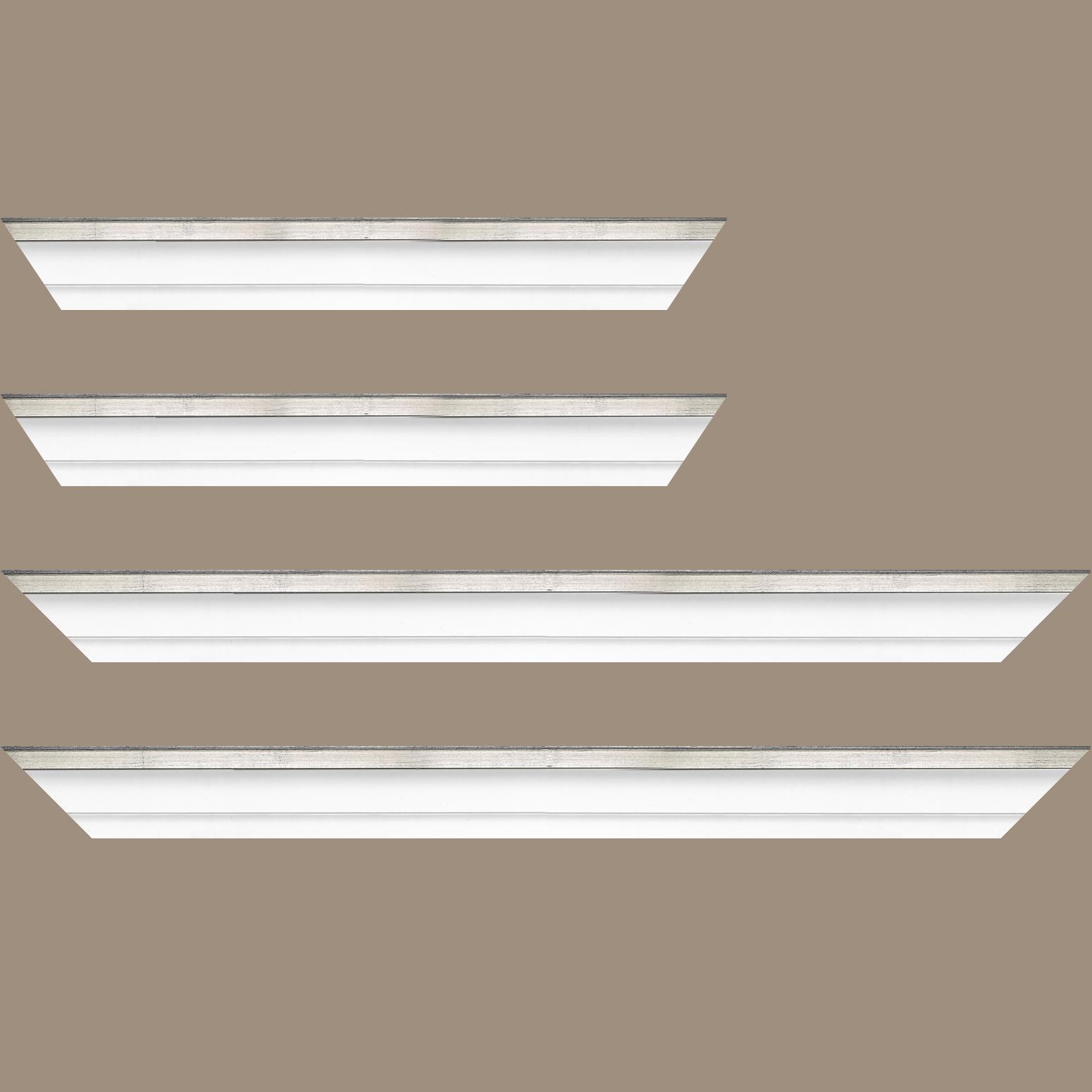 Baguette service précoupé Bois caisse américaine profil escalier largeur 4.5cm blanc mat filet argent (spécialement conçu pour les châssis d'une épaisseur jusqu'à 2.5cm )