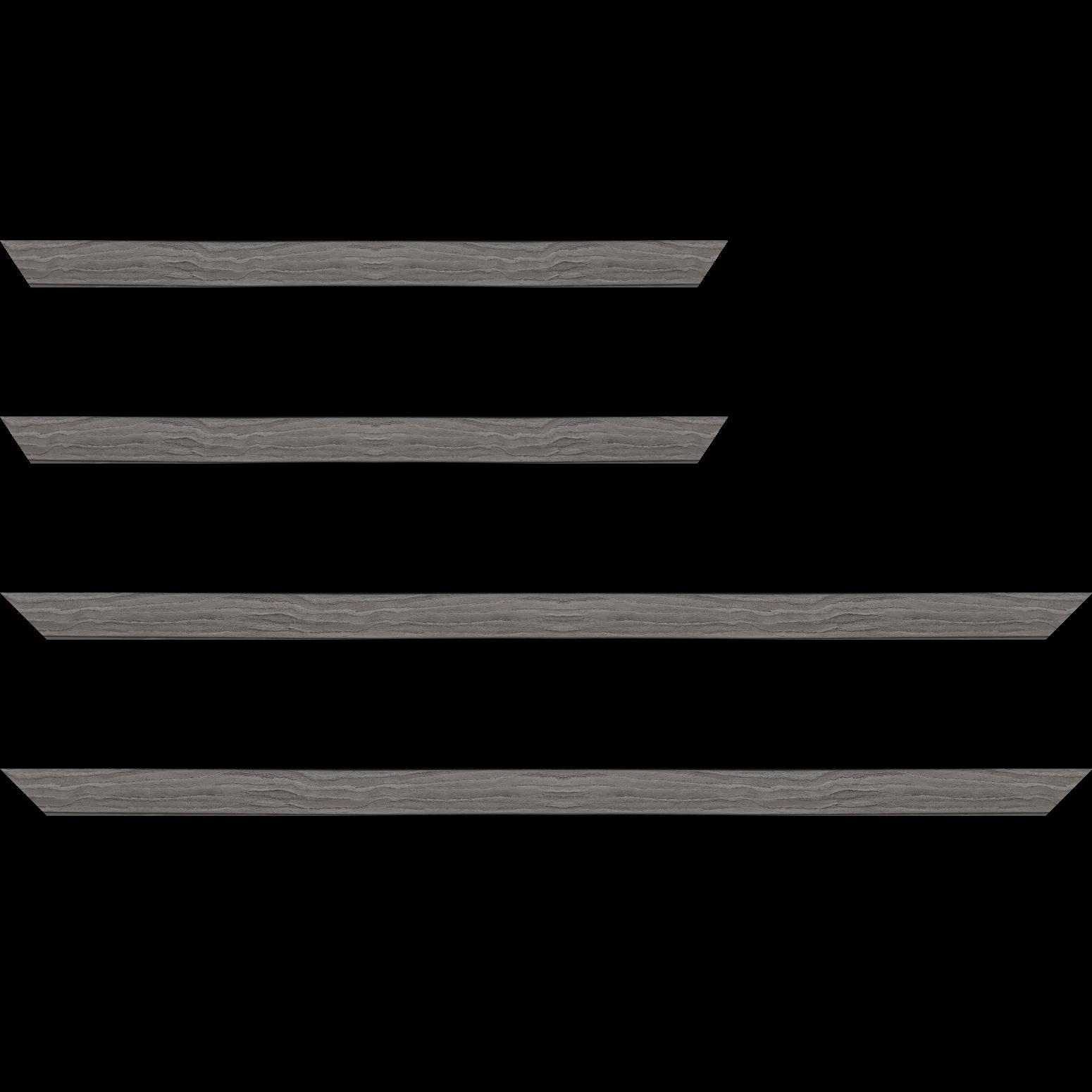 Baguette service précoupé Bois profil plat largeur 2cm décor bois gris