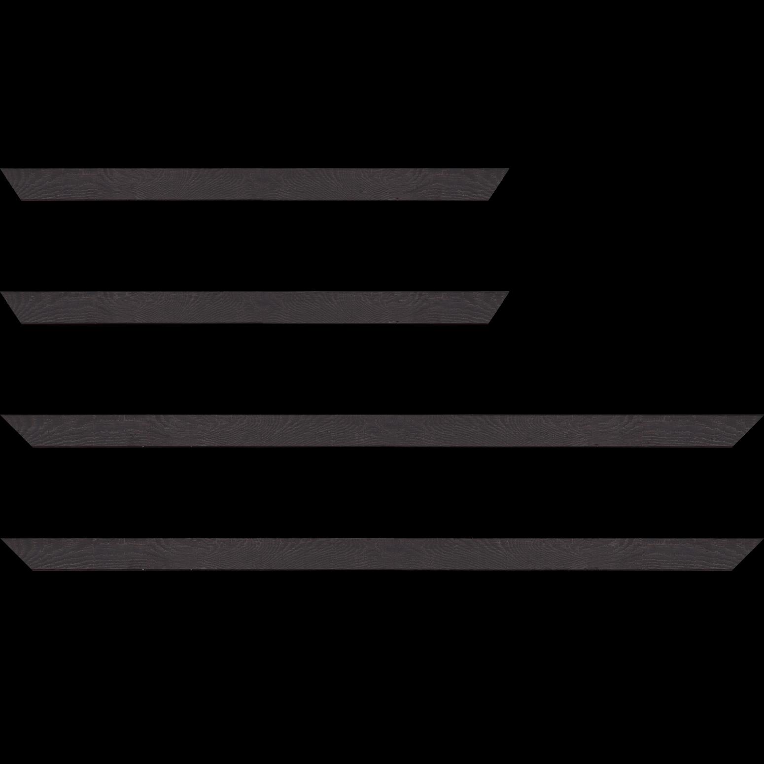 Baguette service précoupé Bois profil plat largeur 2cm décor bois wengé foncé