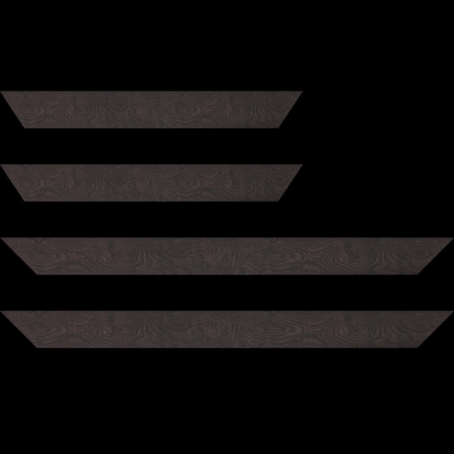 Baguette service précoupé Bois profil plat largeur 4.2cm décor bois wengé foncé