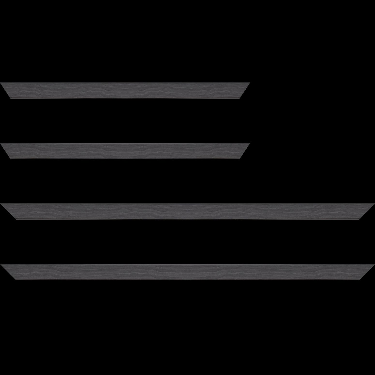 Baguette service précoupé Bois profil plat largeur 2.6cm hauteur 5cm décor bois noir ébène