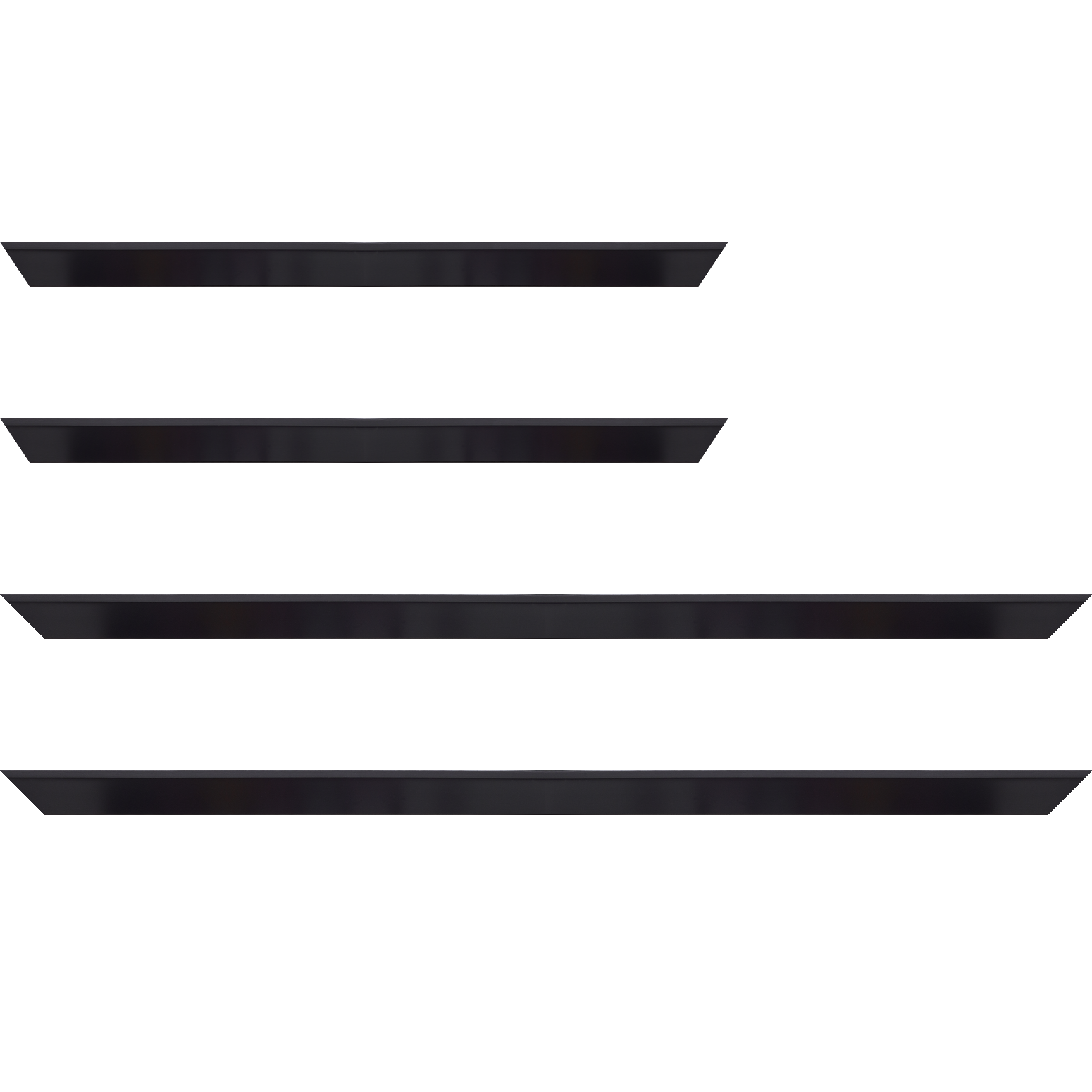 Baguette service précoupé Bois profil en pente plongeant largeur 2.2cm couleur noir mat finition pore bouché