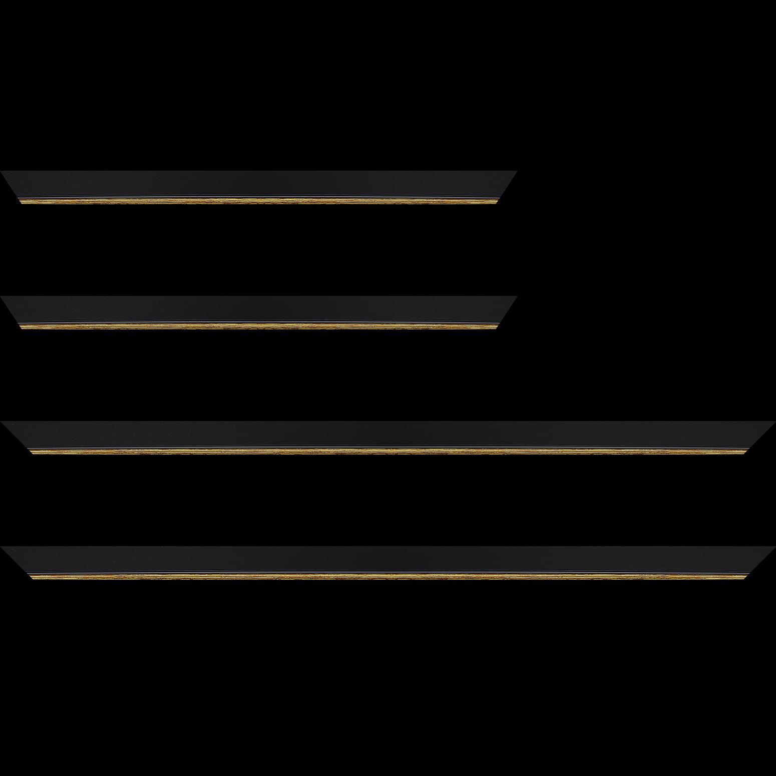 Baguette service précoupé Bois profil plat largeur 2.5cm couleur noir finition pore bouché filet or