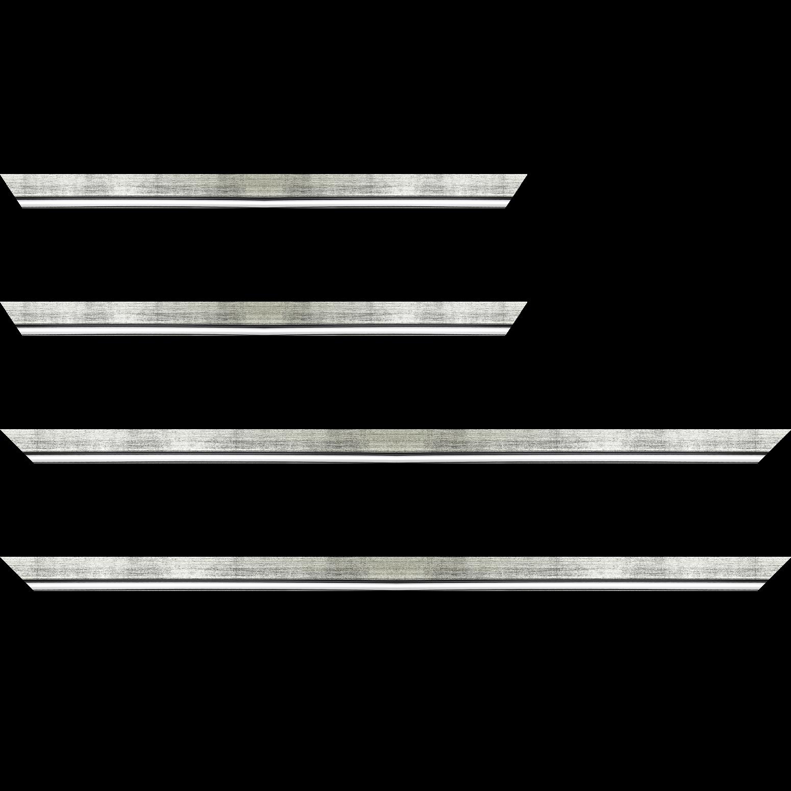 Baguette service précoupé Bois profil plat largeur 2.5cm couleur argent chaud filet argent froid surligné noir