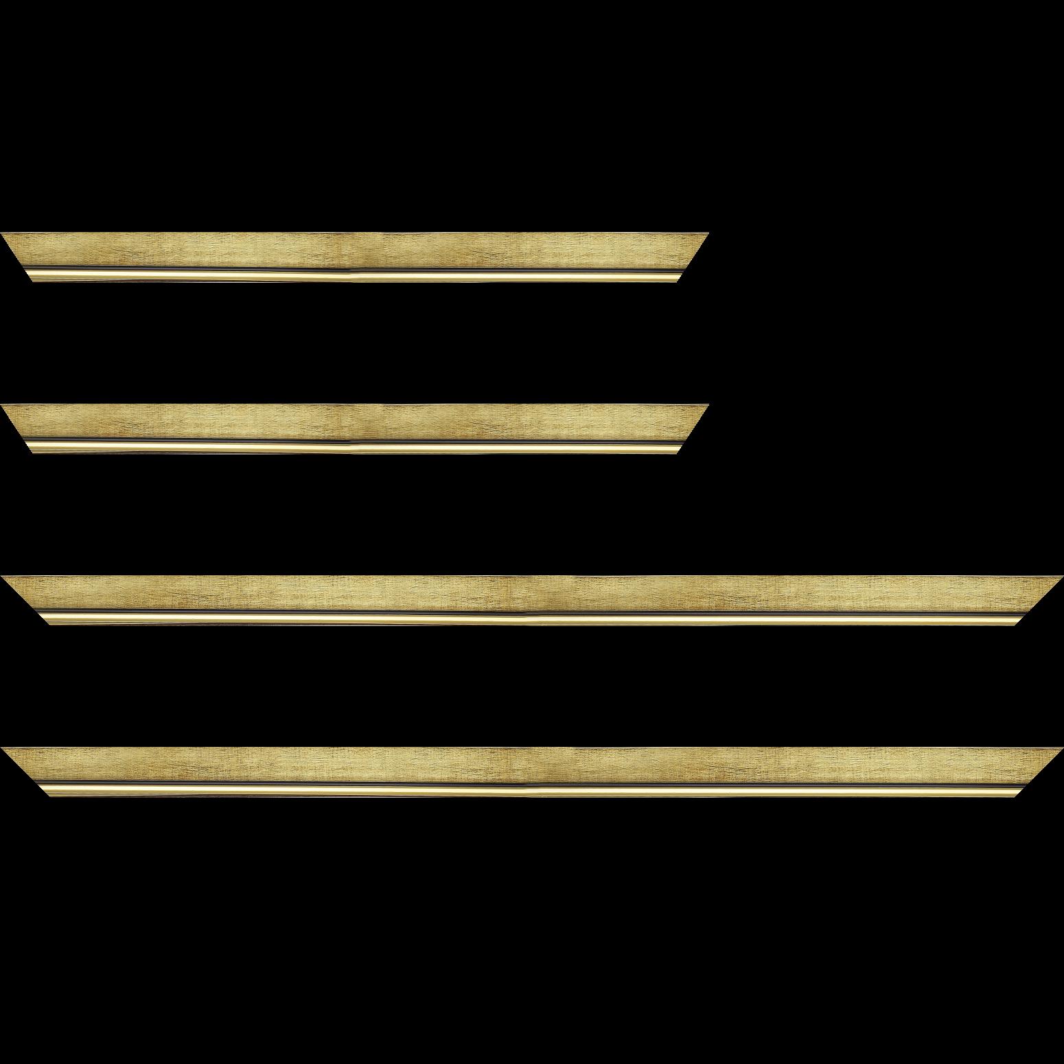 Baguette service précoupé Bois profil plat largeur 2.5cm couleur or filet or surligné noir