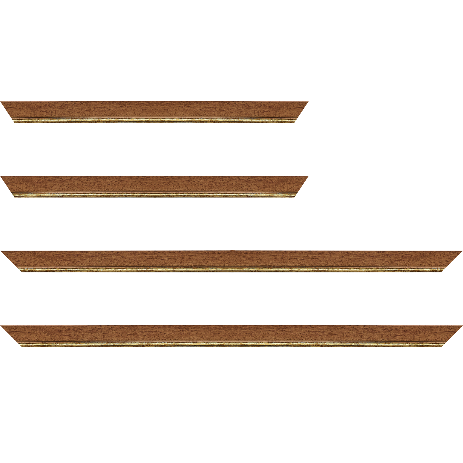 Baguette service précoupé Bois profil plat largeur 2.5cm couleur marron ton bois filet or