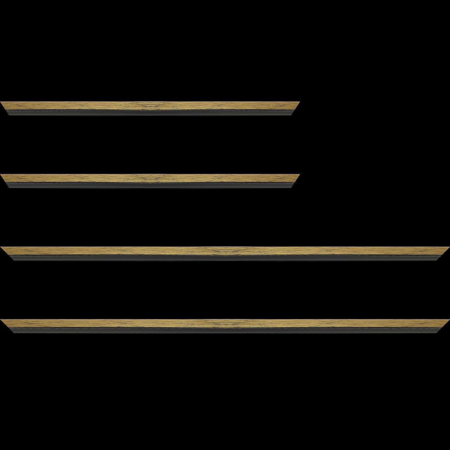 Baguette service précoupé Bois profil plat largeur 1.6cm couleur or contemporain filet noir en retrait de la face du cadre de 6mm assurant un effet très original