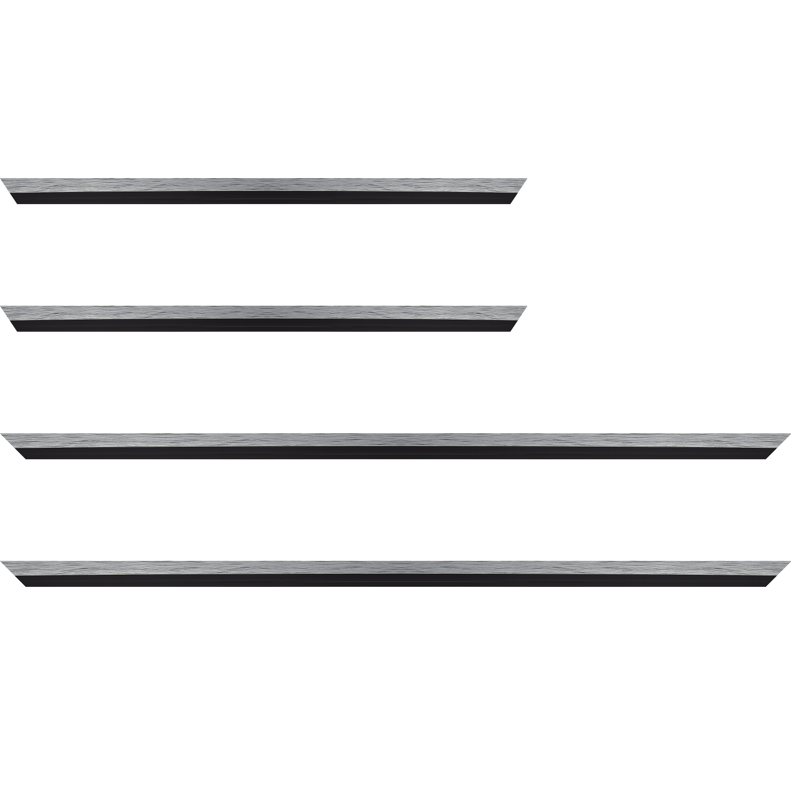 Baguette service précoupé Bois profil plat largeur 1.6cm couleur argent contemporain filet noir en retrait de la face du cadre de 6mm assurant un effet très original