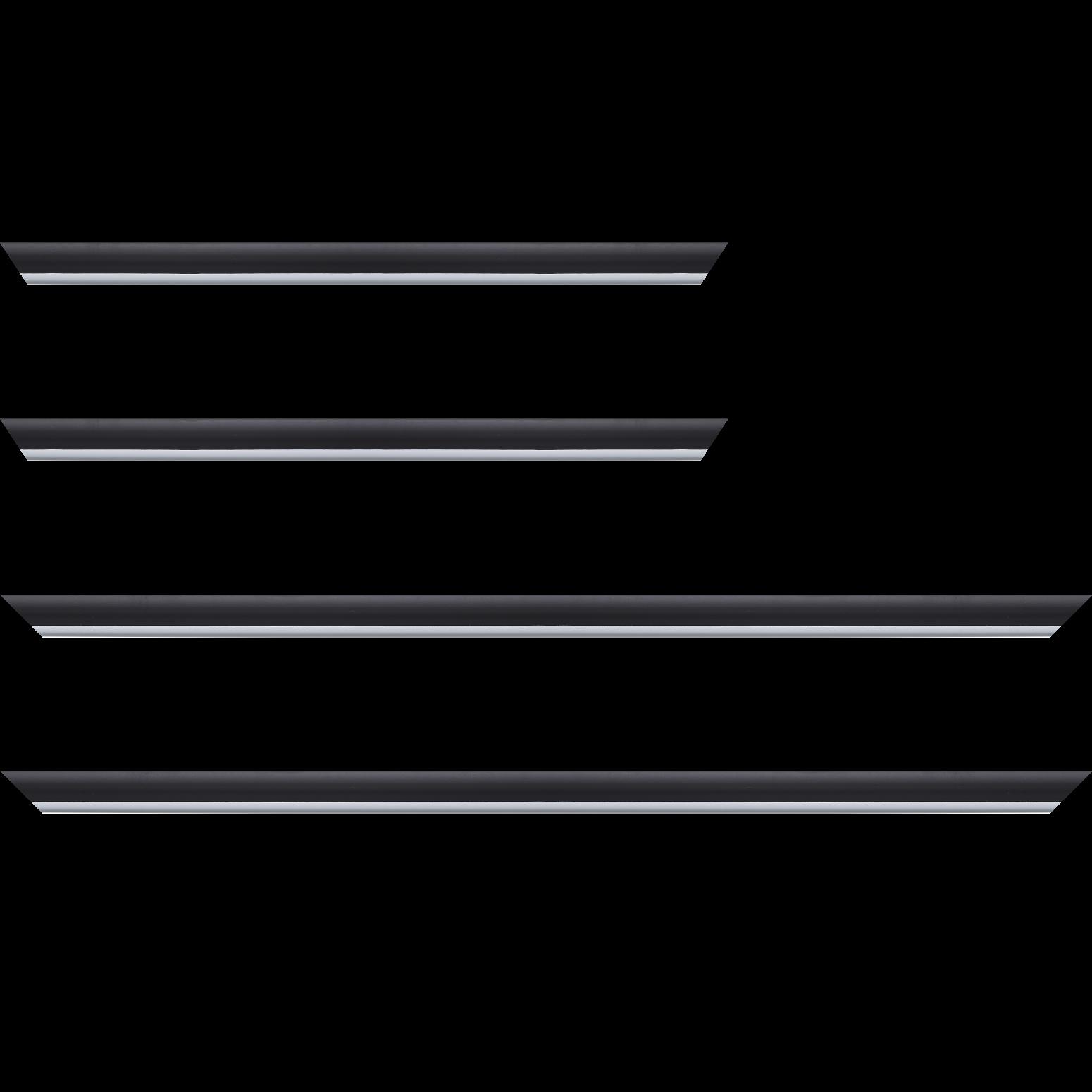 Baguette service précoupé Bois profil arrondi largeur 2.1cm couleur noir mat filet blanc