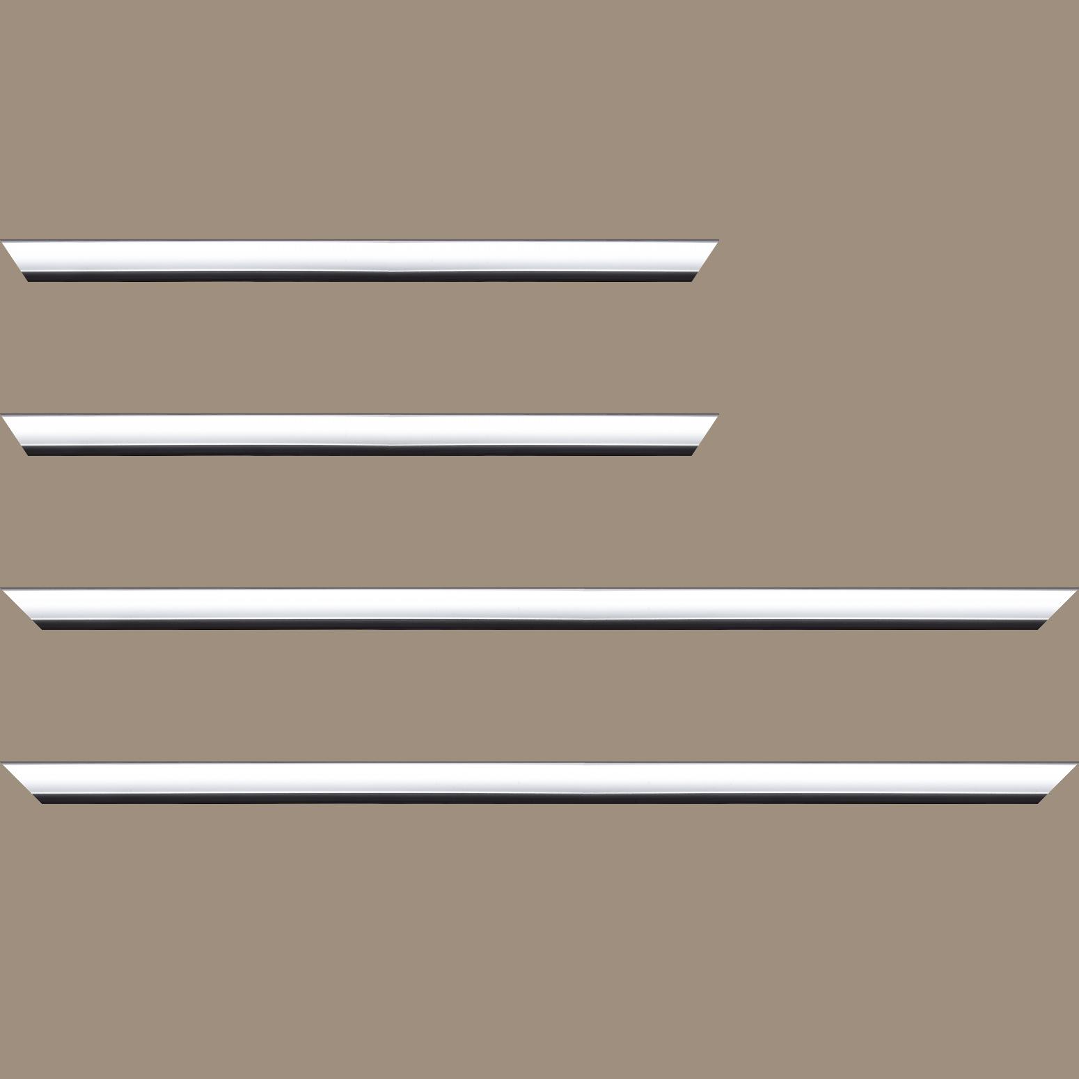 Baguette service précoupé Bois profil arrondi largeur 2.1cm couleur blanc mat filet noir