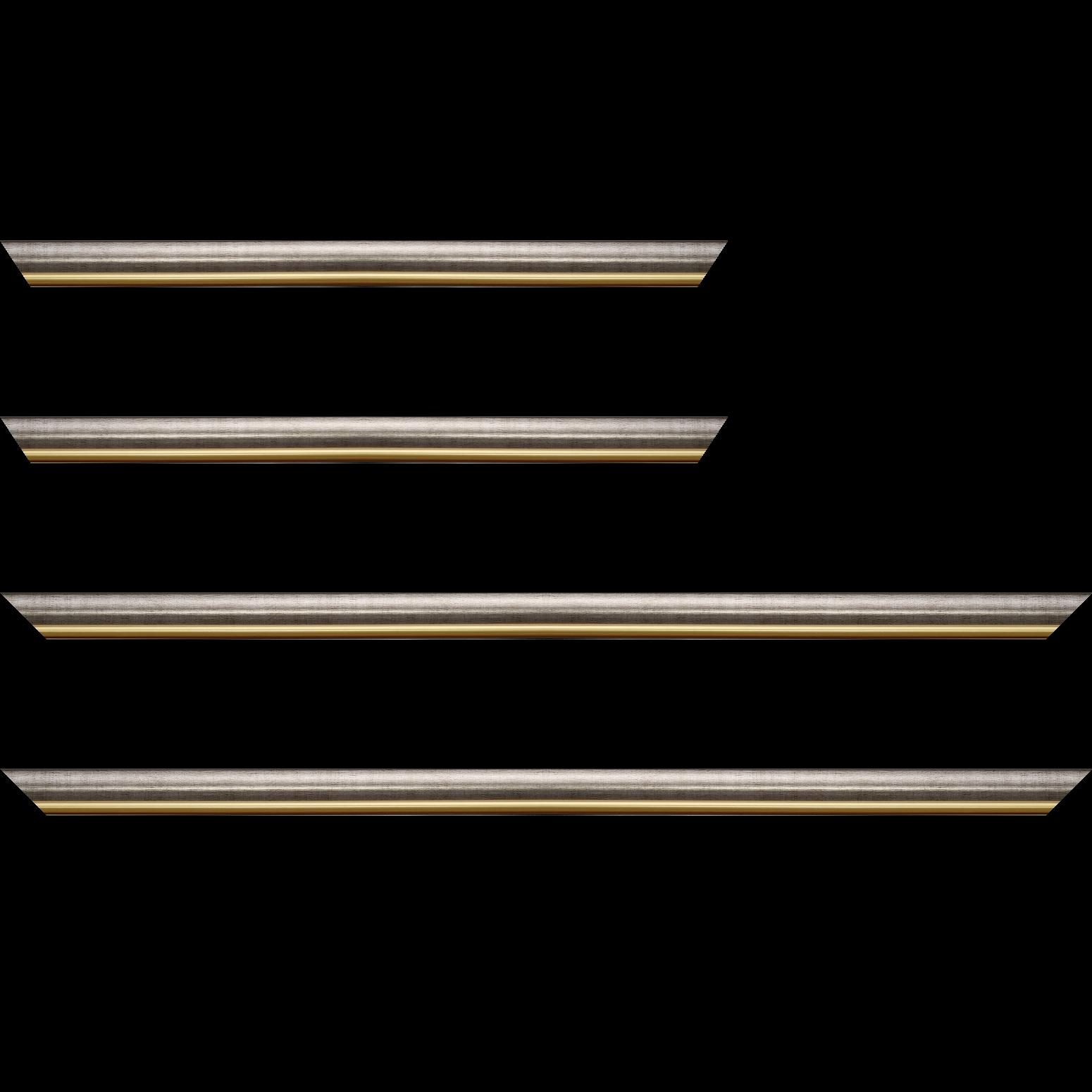Baguette service précoupé Bois profil arrondi largeur 2.1cm couleur plomb filet or