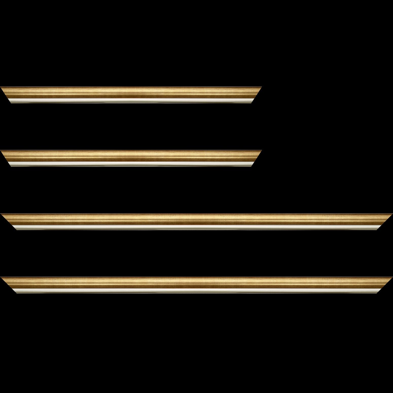 Baguette service précoupé Bois profil arrondi largeur 2.1cm  couleur or filet argent chaud
