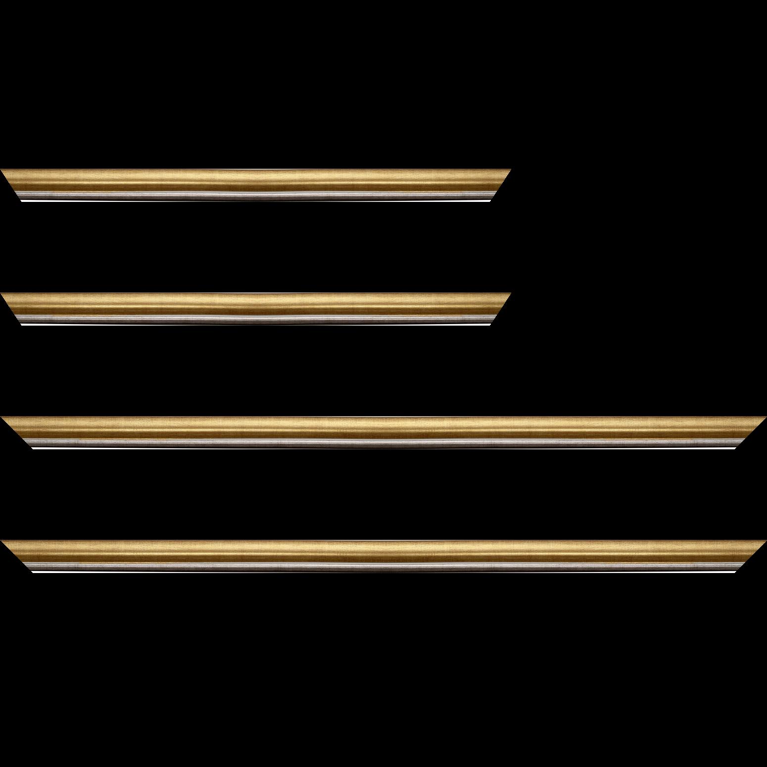Baguette service précoupé Bois profil arrondi largeur 2.1cm  couleur or filet plomb