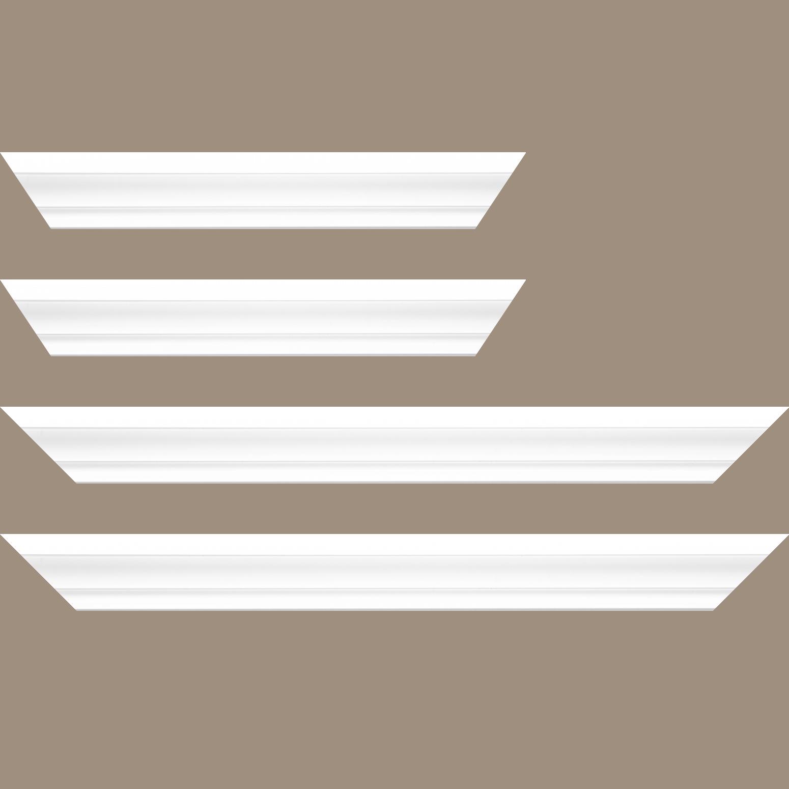 Baguette service précoupé Bois caisse américaine XL profil escalier largeur 4.9cm blanc mat (spécialement conçu pour les châssis 3D d'une épaisseur de 3 à 4cm)