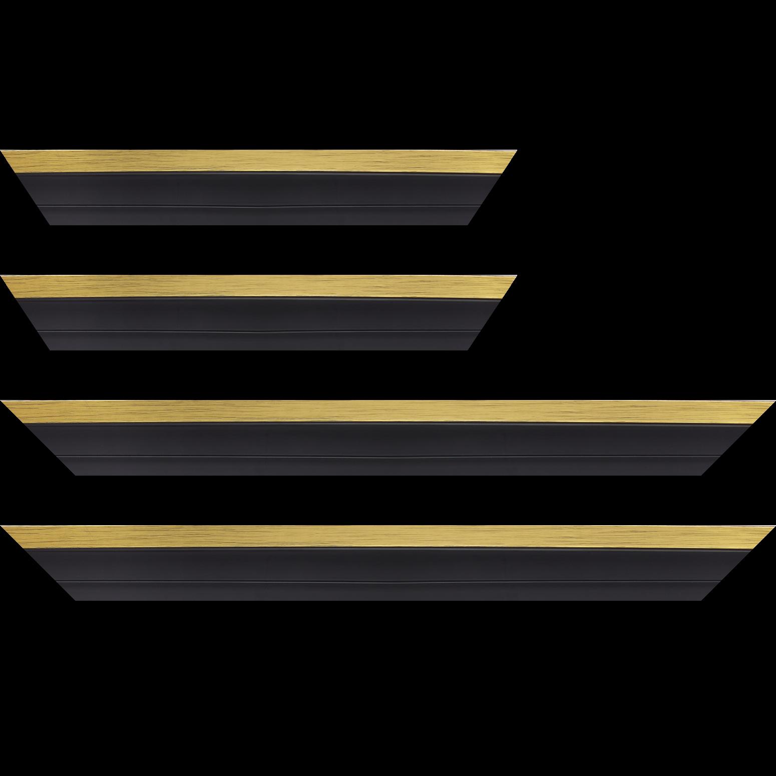 Baguette service précoupé Bois caisse américaine XL profil escalier largeur 4.9cm noir mat  filet or (spécialement conçu pour les châssis 3D d'une épaisseur de 3 à 4cm)