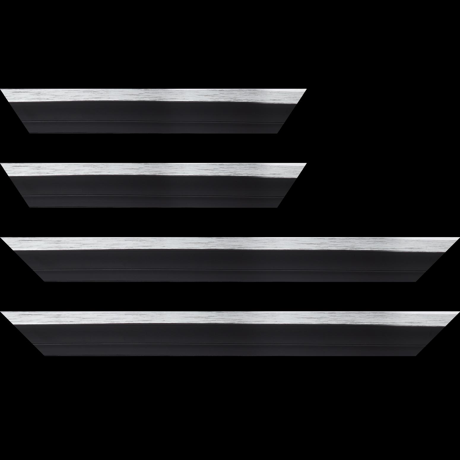 Baguette service précoupé Bois caisse américaine XL profil escalier largeur 4.9cm noir mat  filet argent (spécialement conçu pour les châssis 3D d'une épaisseur de 3 à 4cm)