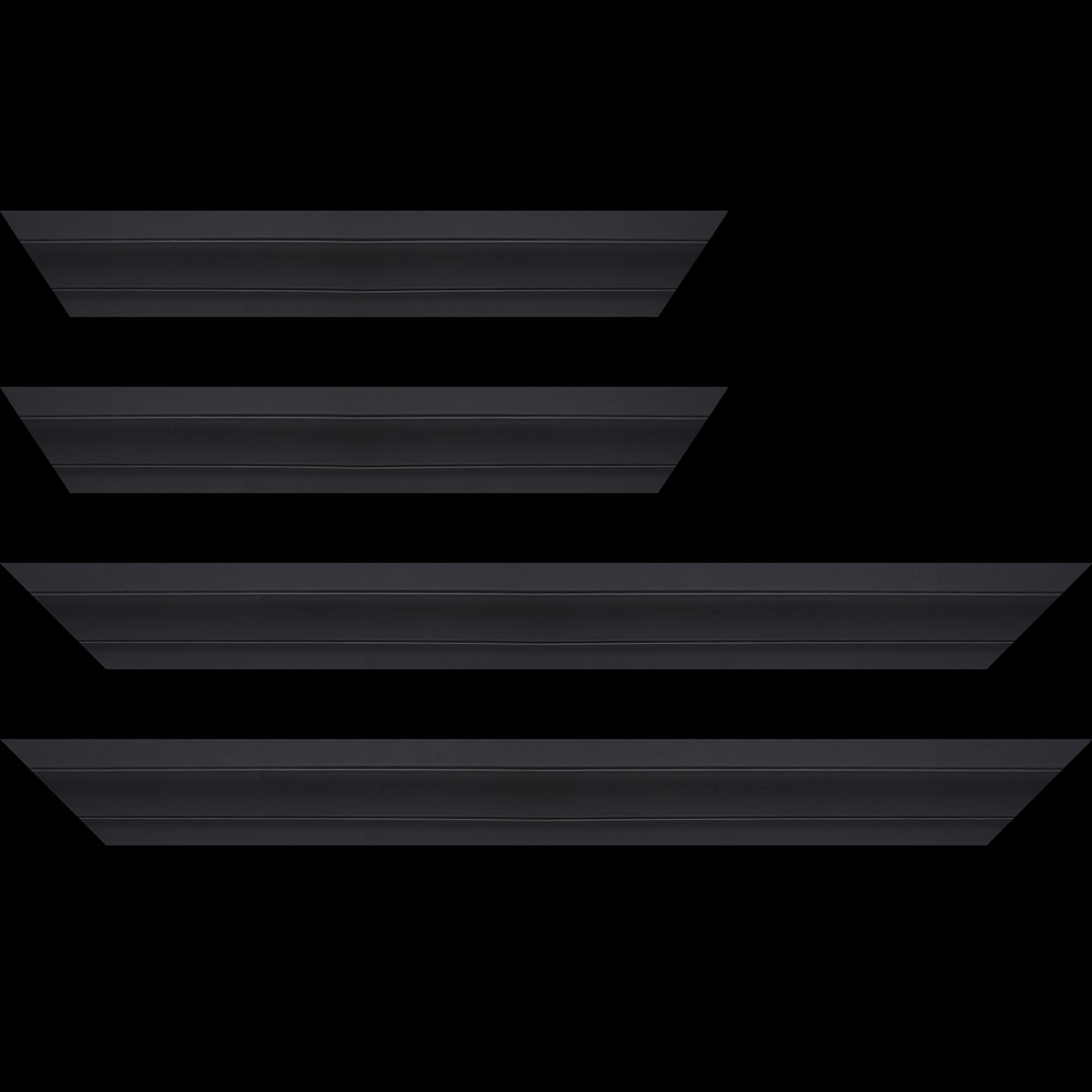 Baguette service précoupé Bois caisse américaine XL profil escalier largeur 4.9cm noir mat (spécialement conçu pour les châssis 3D d'une épaisseur de 3 à 4cm)