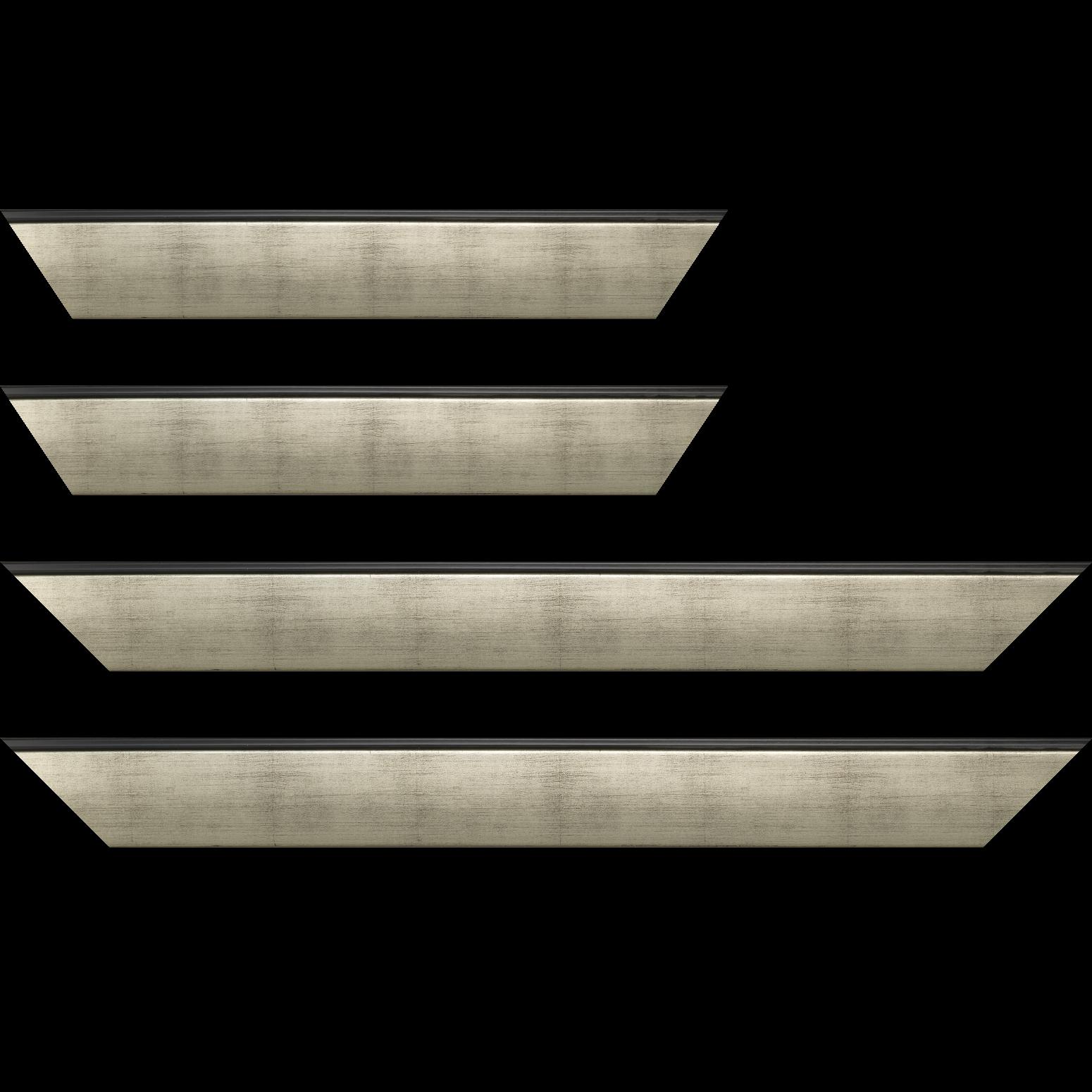Baguette service précoupé Bois profil en pente méplat largeur 4.8cm argent satiné surligné par une gorge extérieure noire : originalité et élégance assurée