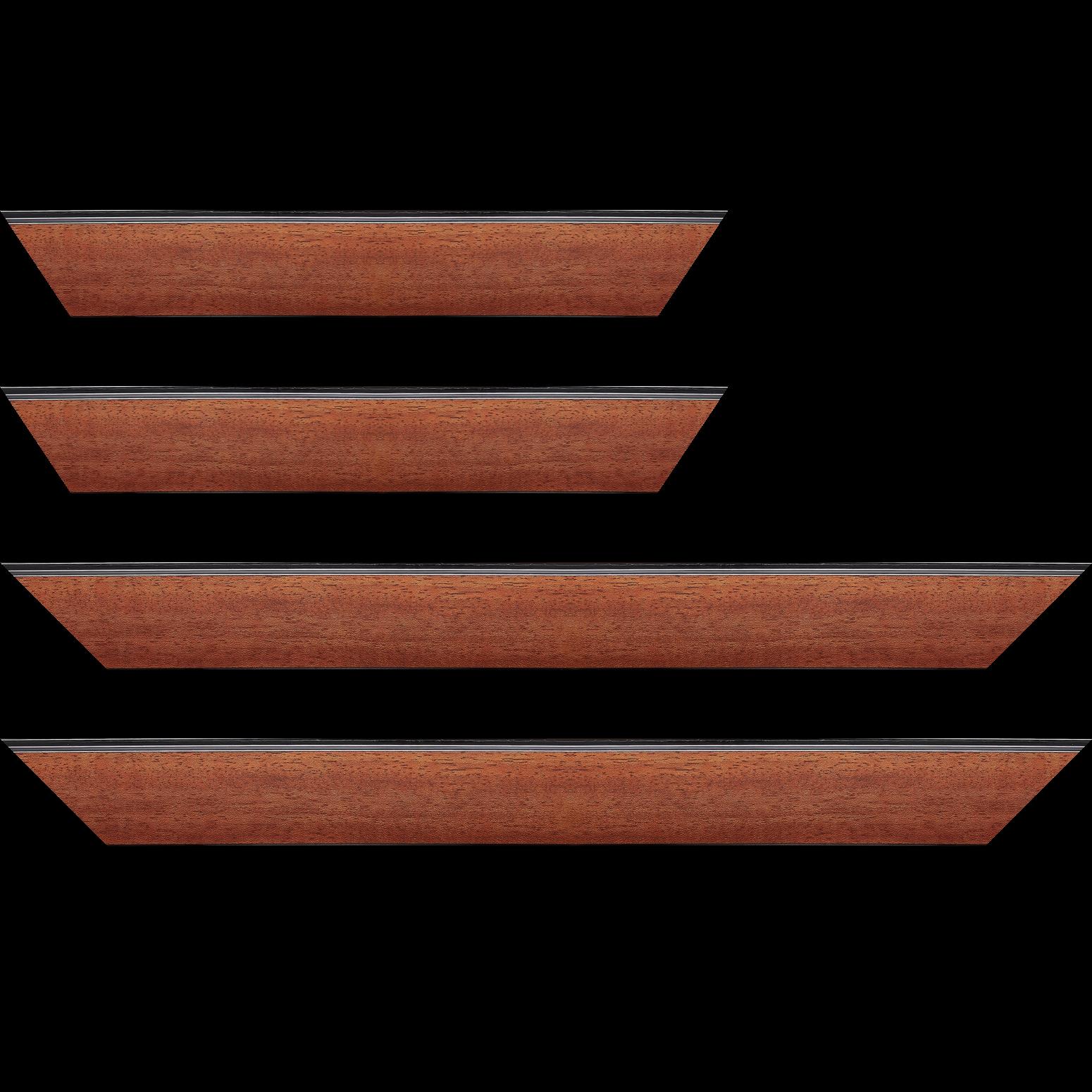 Baguette service précoupé Bois profil en pente méplat largeur 4.8cm couleur acajou satiné surligné par une gorge extérieure noire : originalité et élégance assurée
