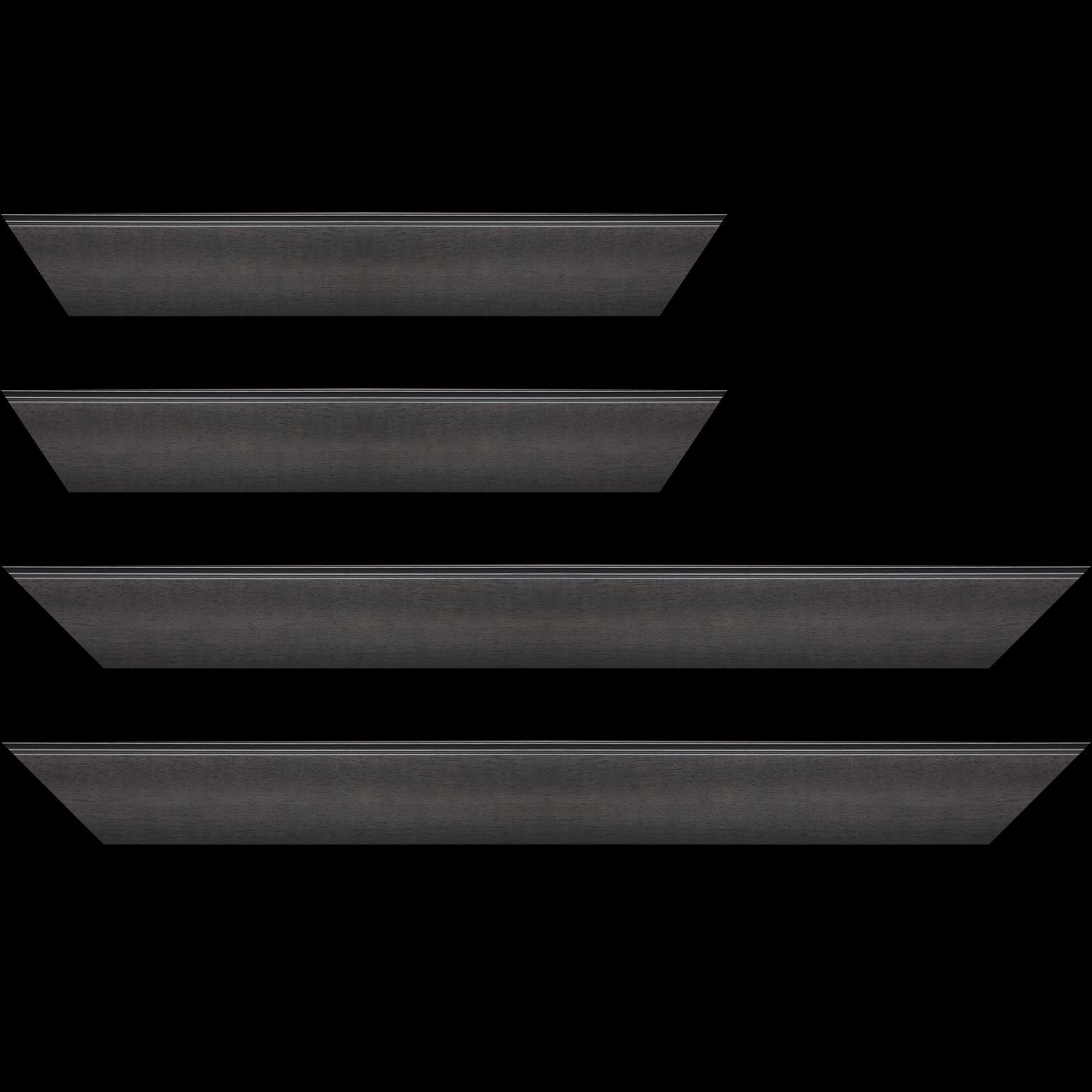 Baguette service précoupé Bois profil en pente méplat largeur 4.8cm couleur anthracite satiné surligné par une gorge extérieure noire : originalité et élégance assurée