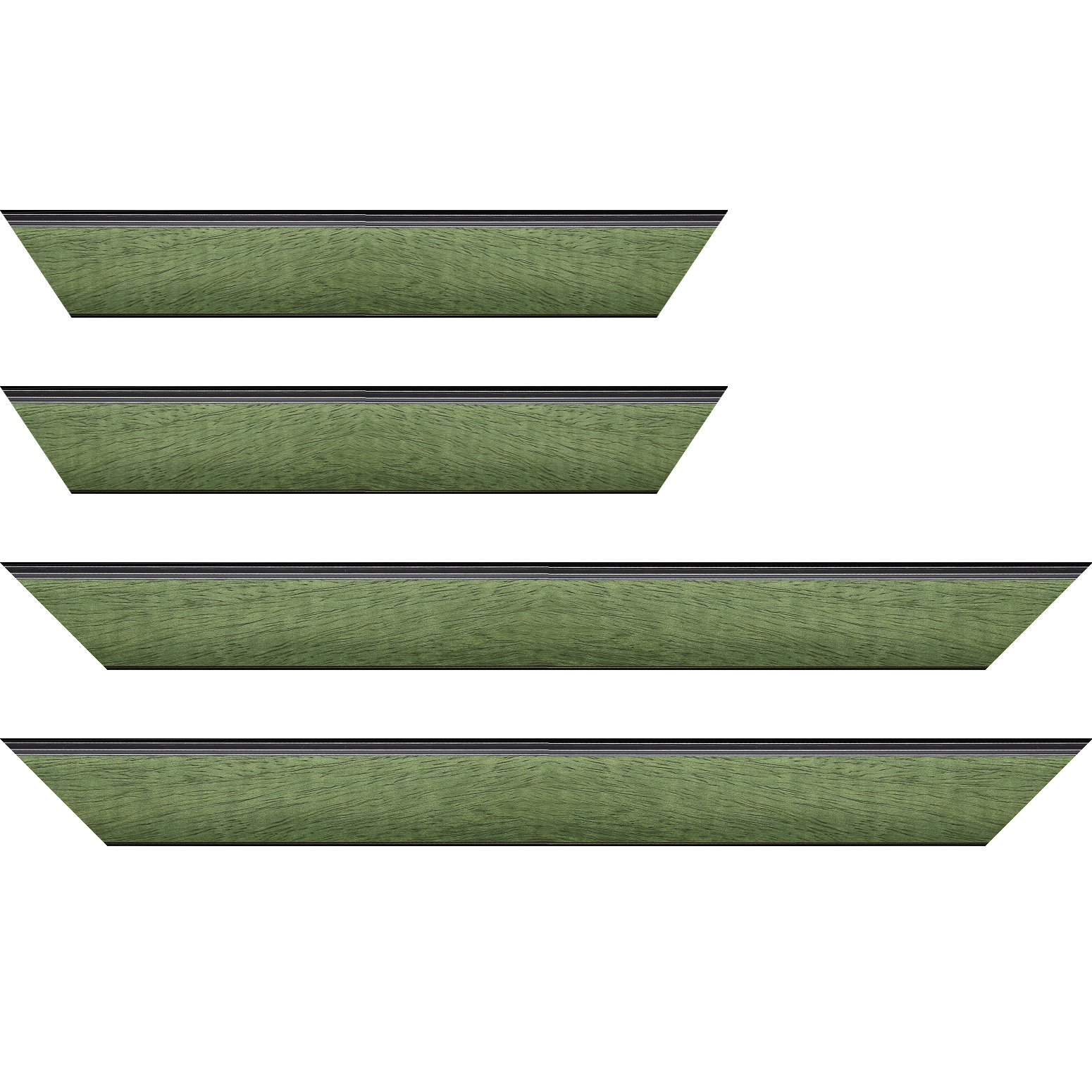 Baguette service précoupé Bois profil incliné en pente largeur 4.8cm couleur vert sapin satiné surligné par une gorge extérieure noire : originalité et élégance assurée