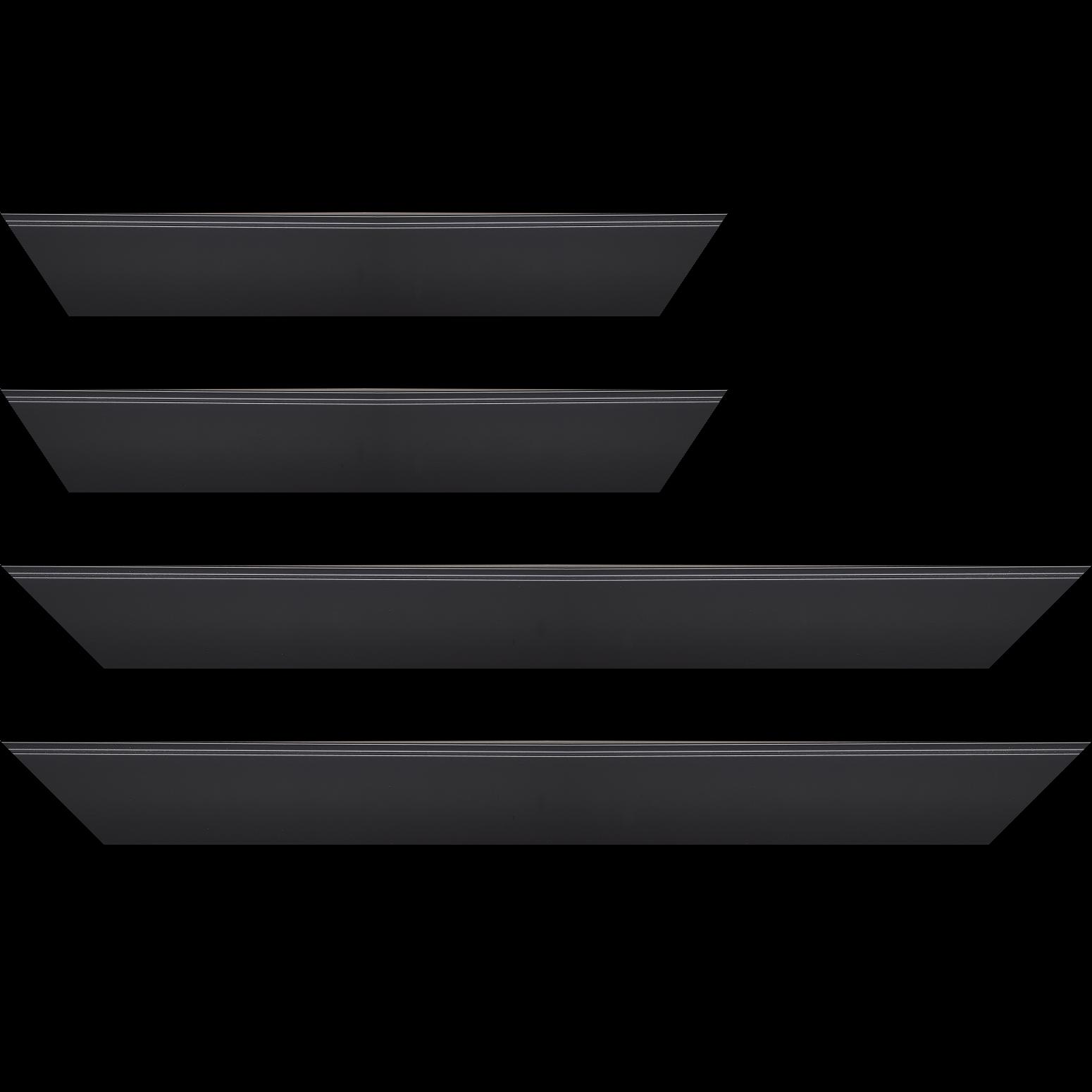 Baguette service précoupé Bois profil en pente méplat largeur 4.8cm couleur noir mat surligné par une gorge extérieure noire : originalité et élégance assurée