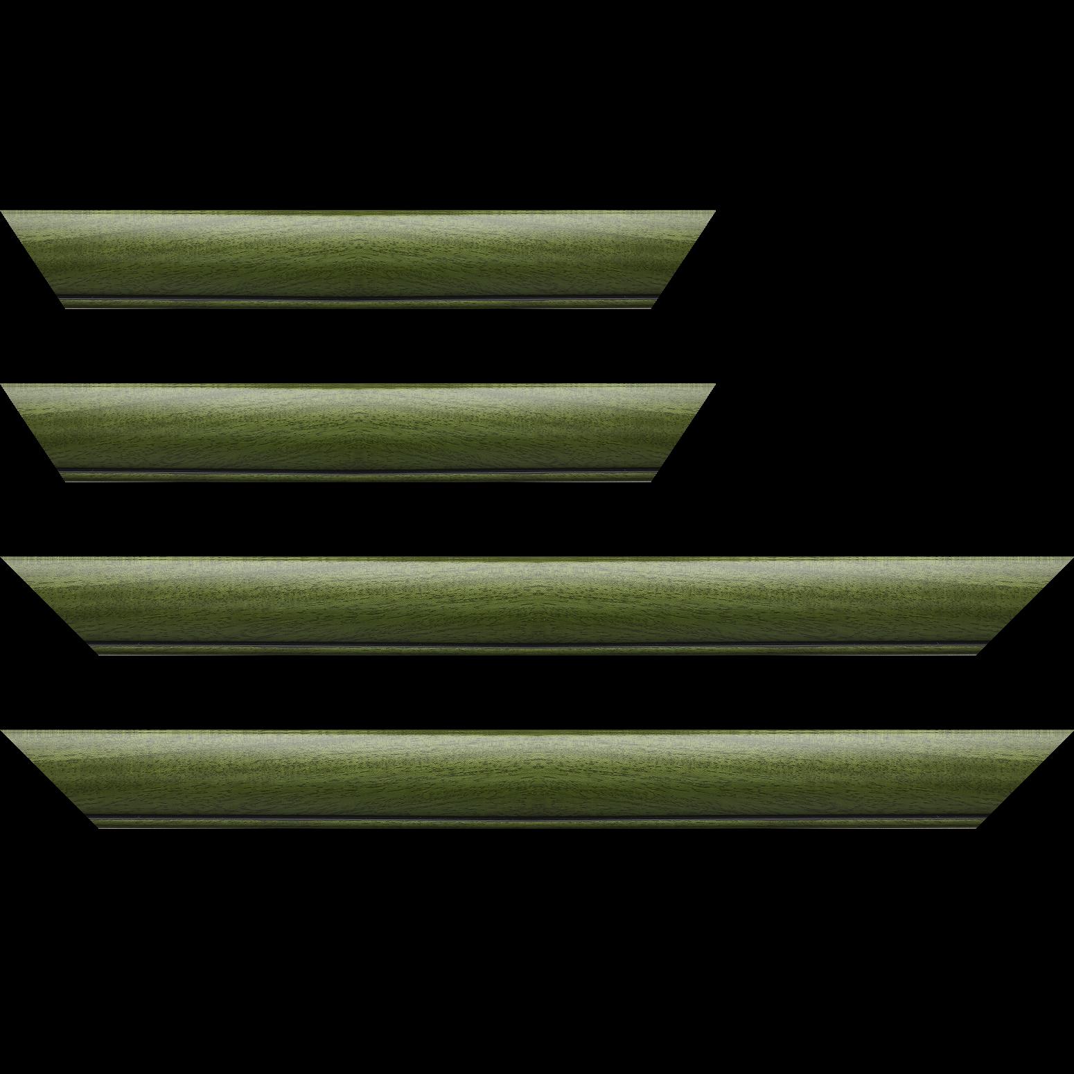 Baguette service précoupé Bois profil arrondi largeur 4.7cm couleur vert sapin satiné rehaussé d'un filet noir