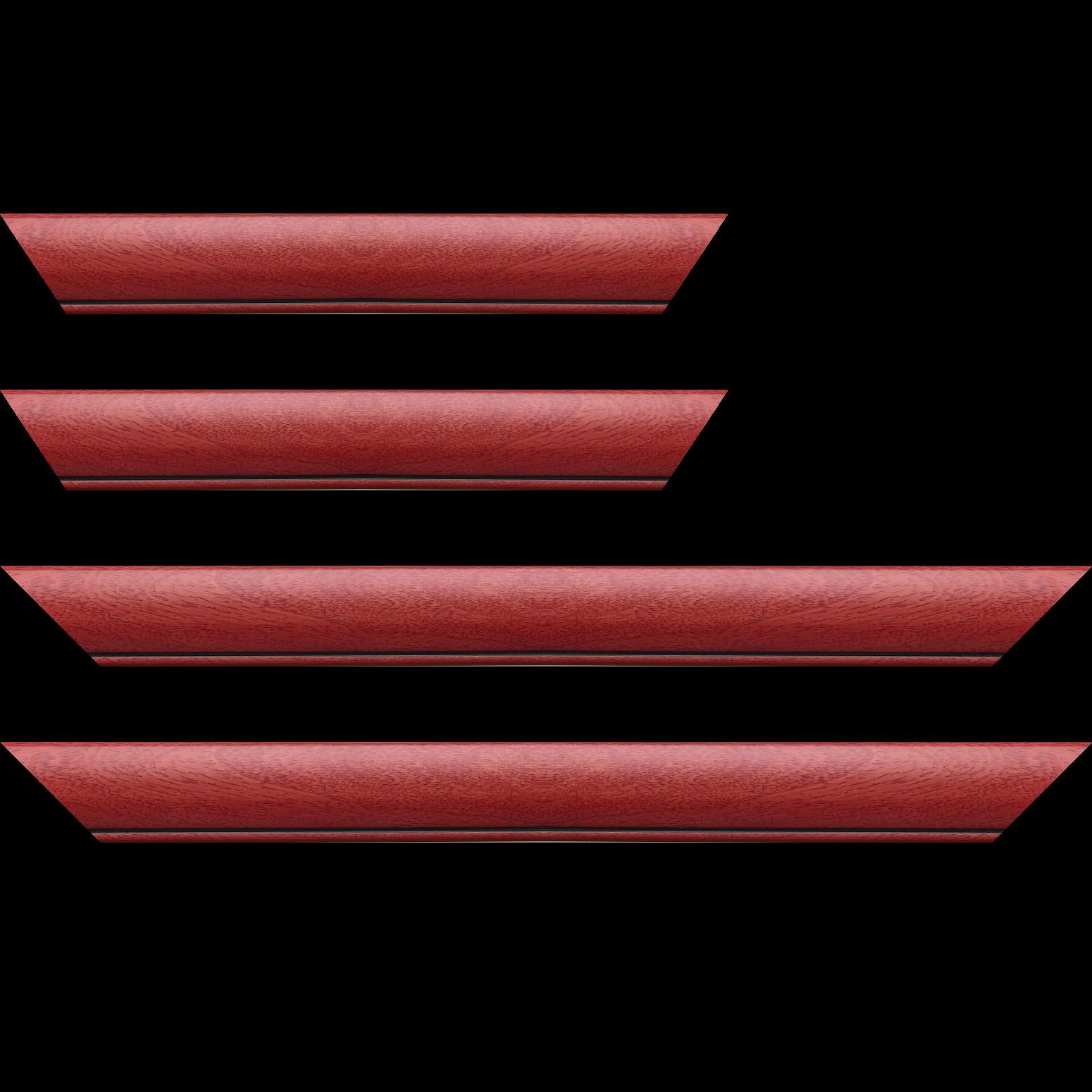 Baguette service précoupé Bois profil arrondi largeur 4.7cm couleur rouge cerise satiné rehaussé d'un filet noir