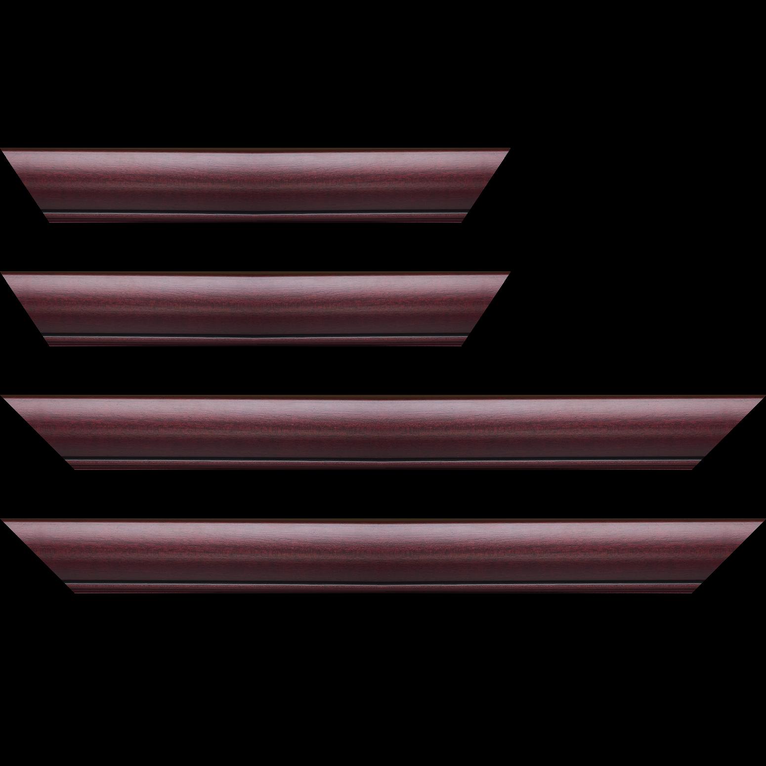 Baguette service précoupé Bois profil arrondi largeur 4.7cm couleur bordeaux lie de vin satiné rehaussé d'un filet noir