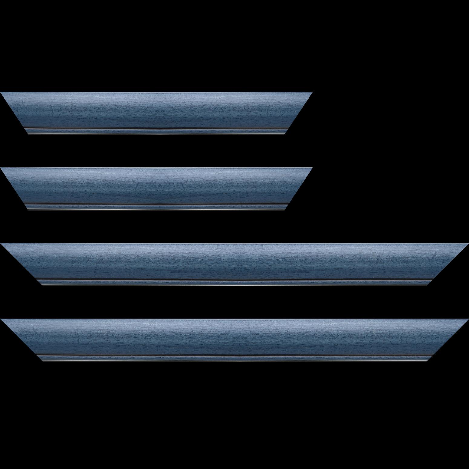 Baguette service précoupé Bois profil arrondi largeur 4.7cm couleur bleu cobalt satiné rehaussé d'un filet noir