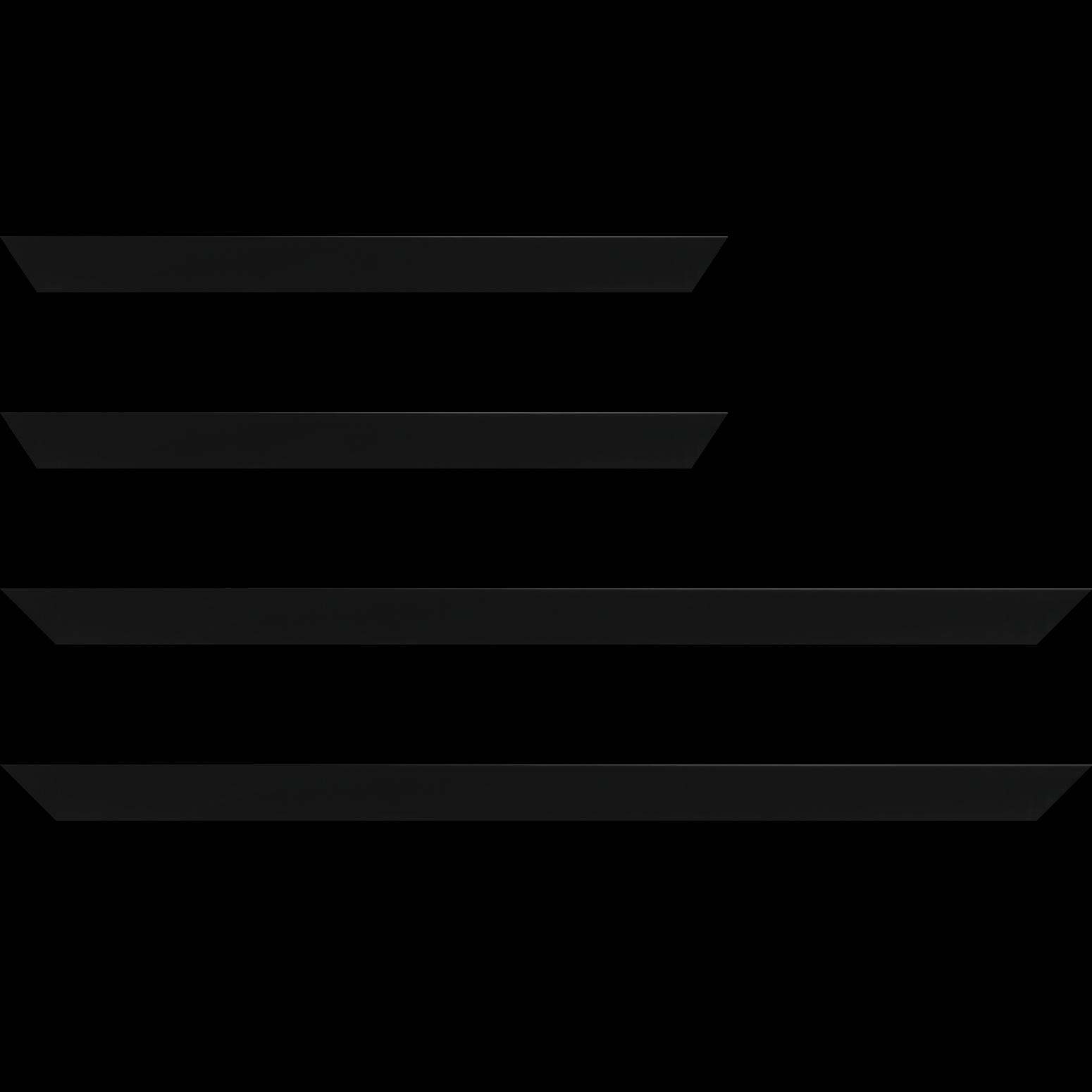 Baguette service précoupé Bois profil plat largeur 2.5cm hauteur 4.8cm couleur noir mat finition pore bouché (hauteur feuillure 4.3cm )