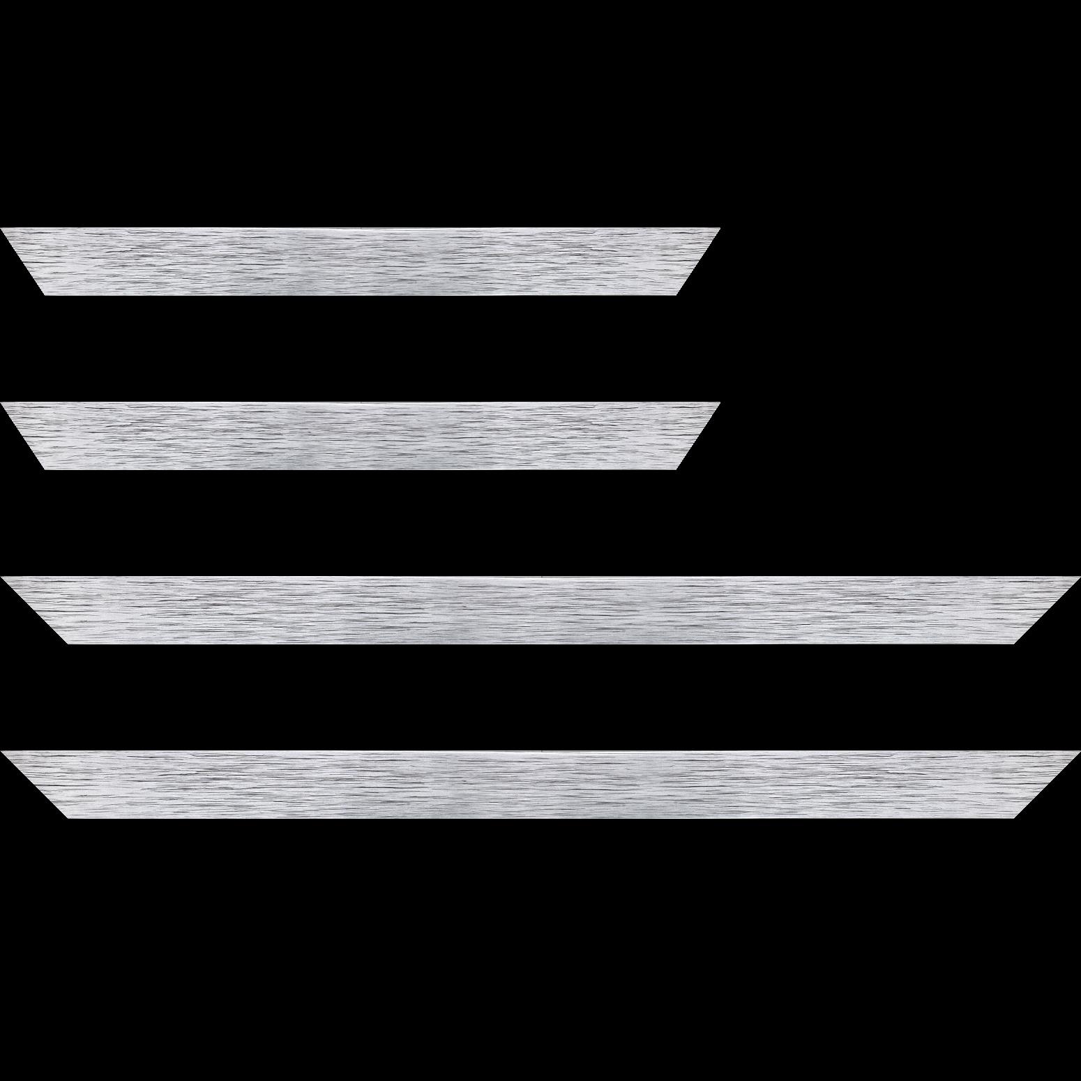 Baguette service précoupé Bois profil plat largeur 2.5cm hauteur 4.8cm argent contemporain (hauteur feuillure 4.3cm )
