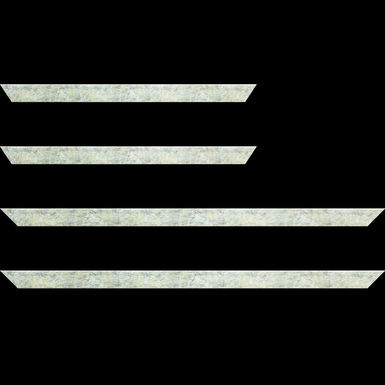 Baguette service précoupé Bois profil plat largeur 2.5cm hauteur 4.8cm argent effet marbré (hauteur feuillure 4.3cm )