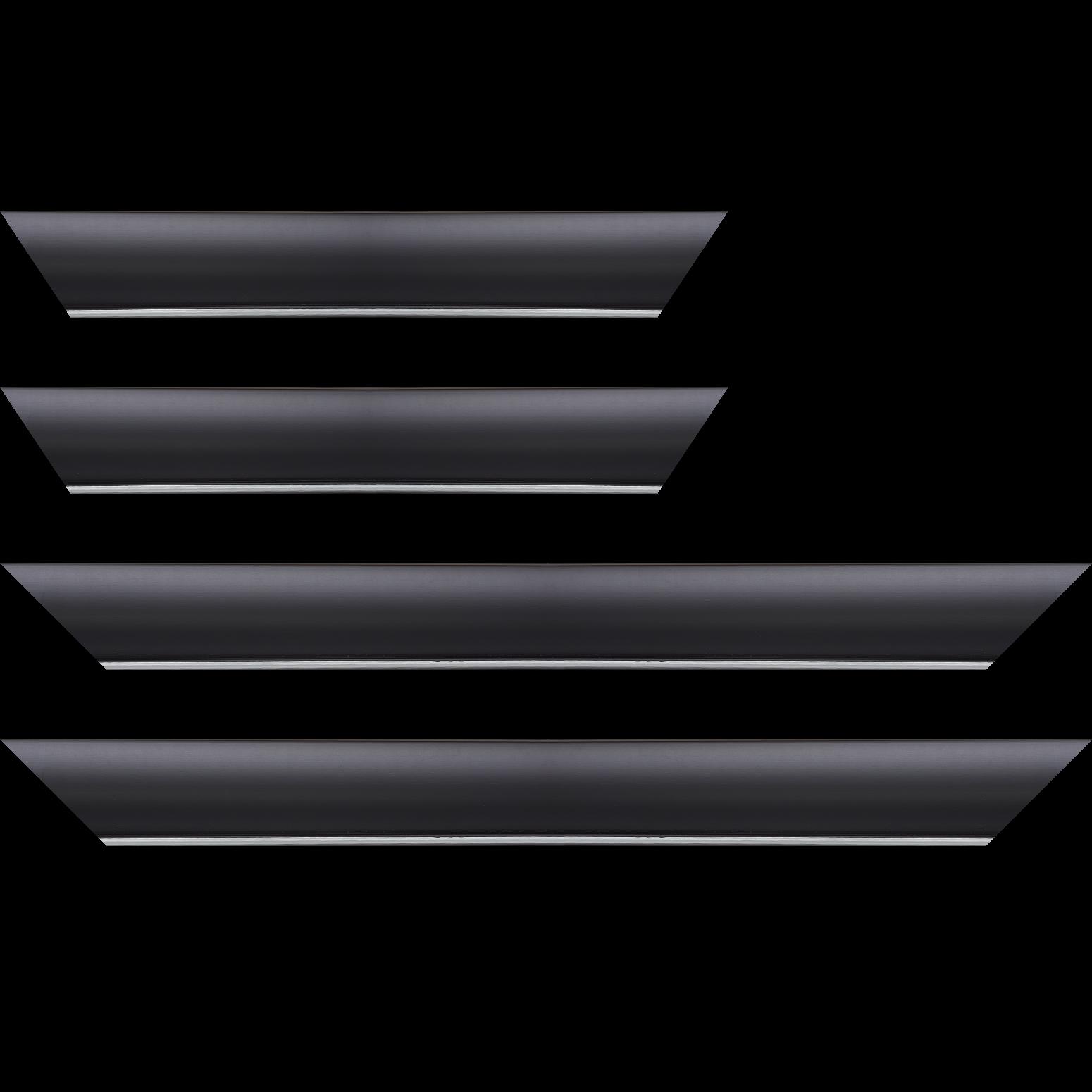 Baguette service précoupé Bois profil arrondi largeur 4.7cm couleur noir mat finition pore bouché filet argent mat contemporain