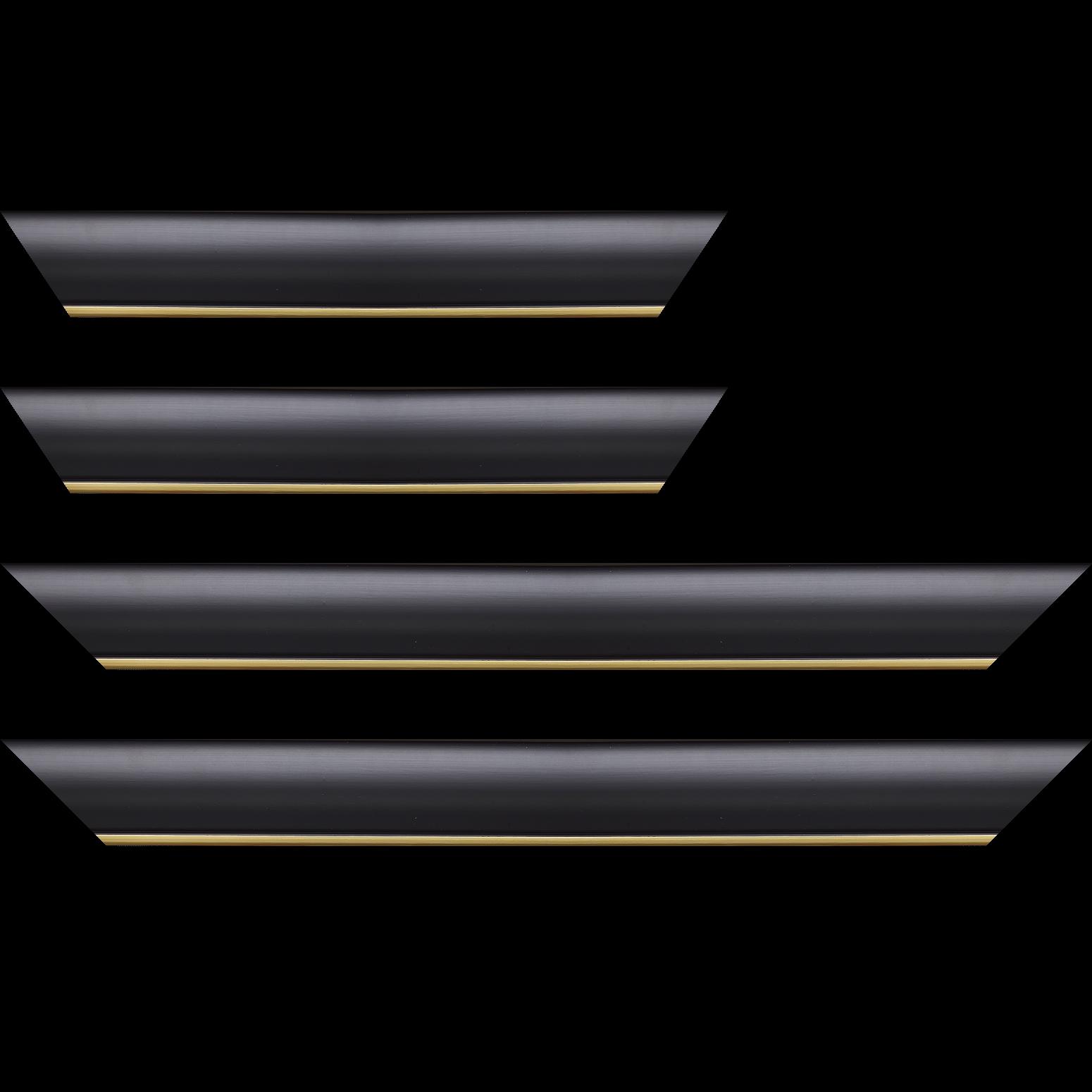 Baguette service précoupé Bois profil arrondi largeur 4.7cm couleur noir mat finition pore bouché filet or mat contemporain