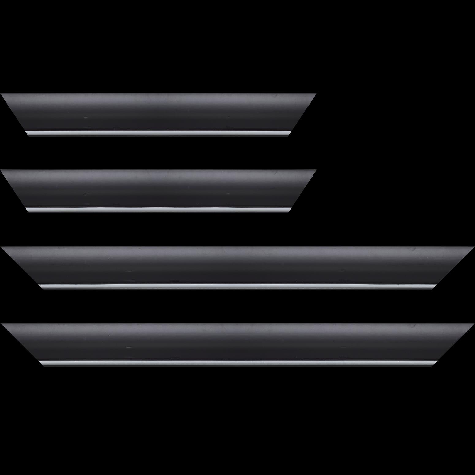 Baguette service précoupé Bois profil arrondi largeur 4.7cm couleur noir mat finition pore bouché filet blanc mat