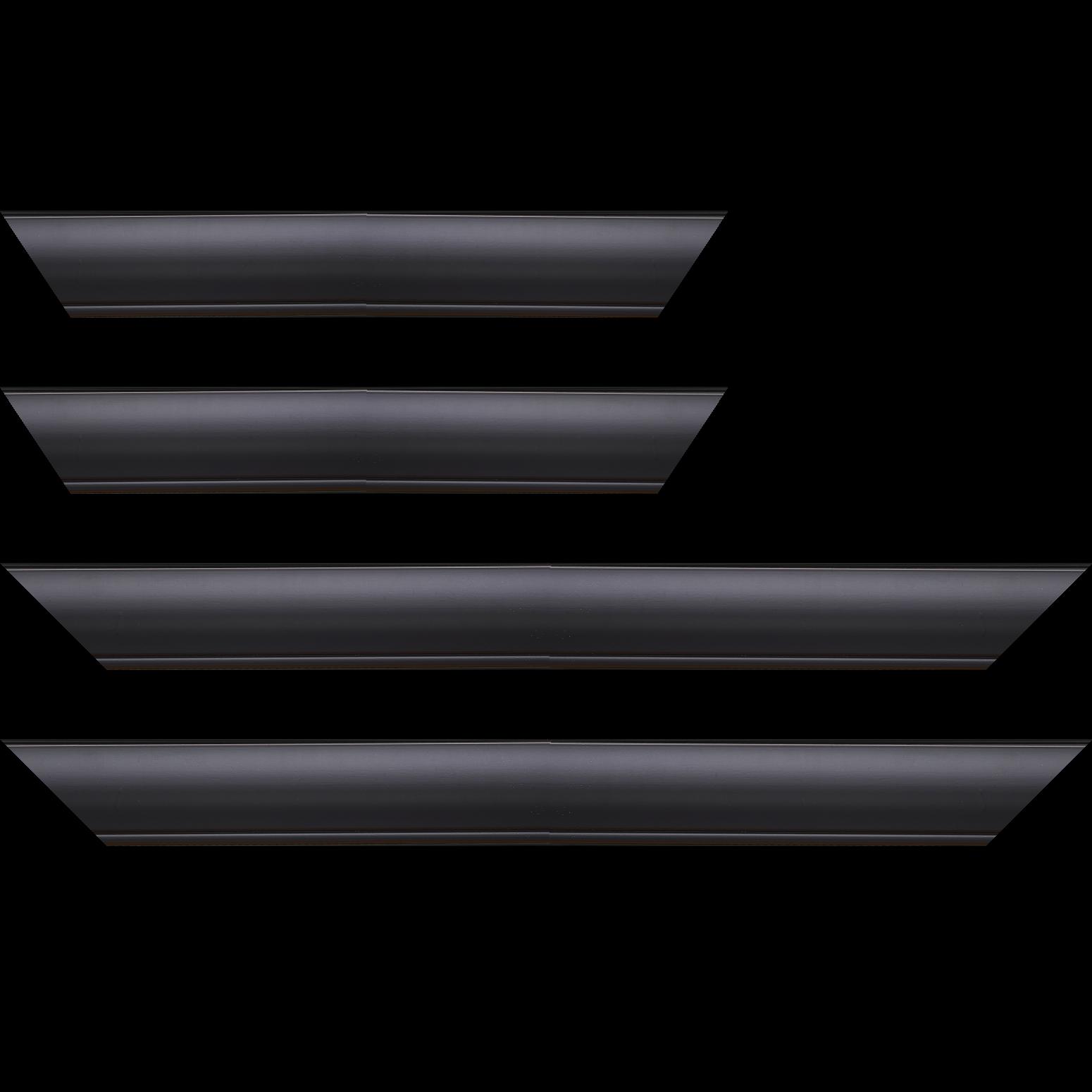Baguette service précoupé Bois profil arrondi largeur 4.7cm couleur noir mat finition pore bouché filet noir mat