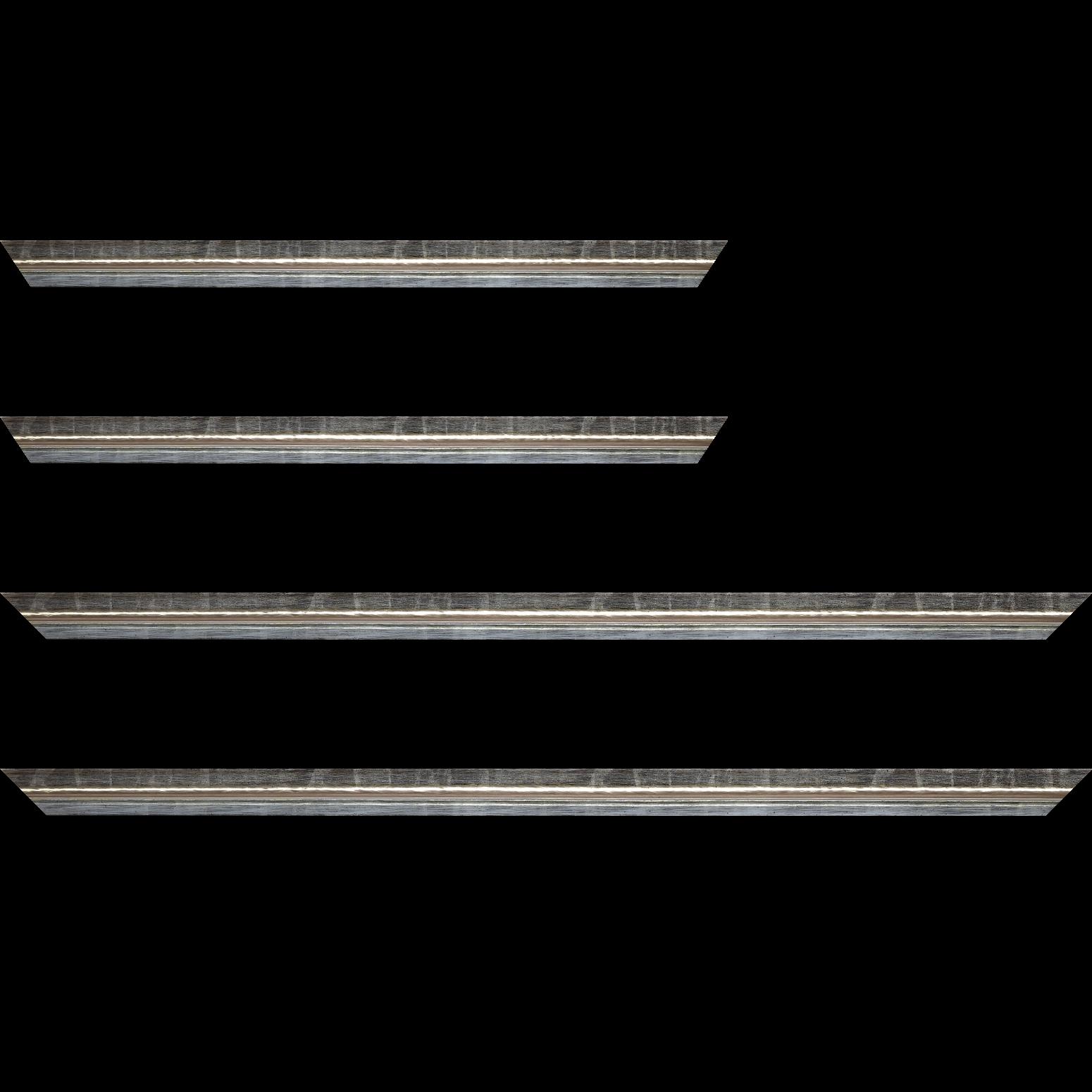 Baguette service précoupé Bois profil incurvé largeur 2cm couleur argent coté extérieur foncé. finition haut de gamme car dorure à l'eau fait main