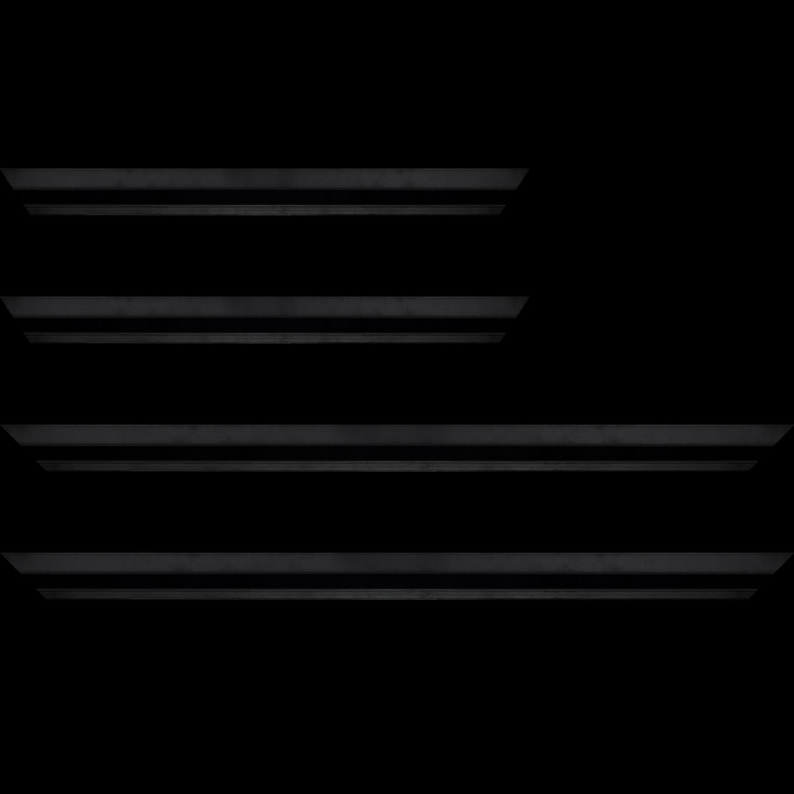 Baguette service précoupé Bois profil plat 3 faces largeur 2.8cm de couleur noir mat finition pore bouché