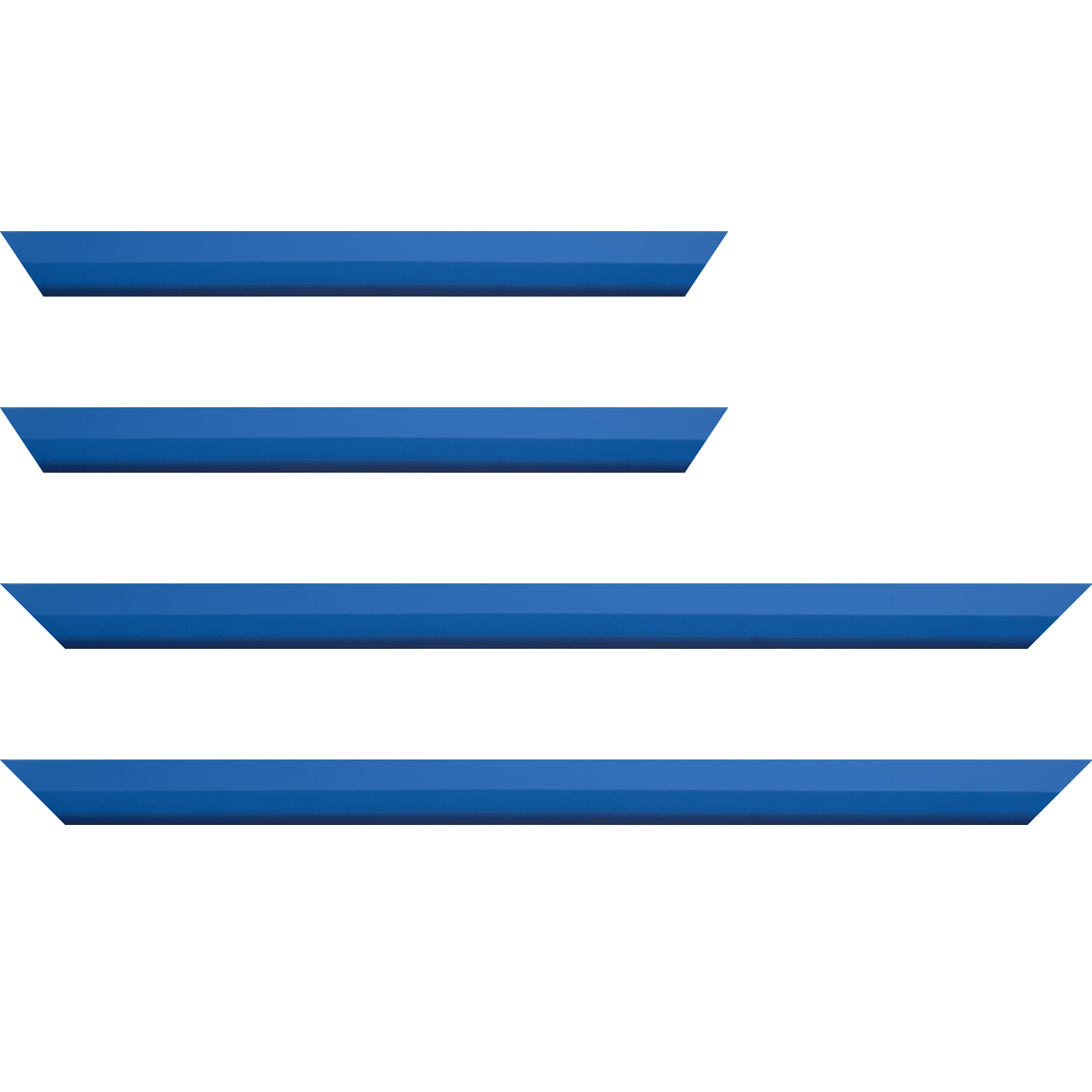 Baguette service précoupé Bois profil plat  3 faces largeur 2.8cm de couleur bleu roi mat , nez intérieur bleu foncé mat dégradé (finition pore bouché)
