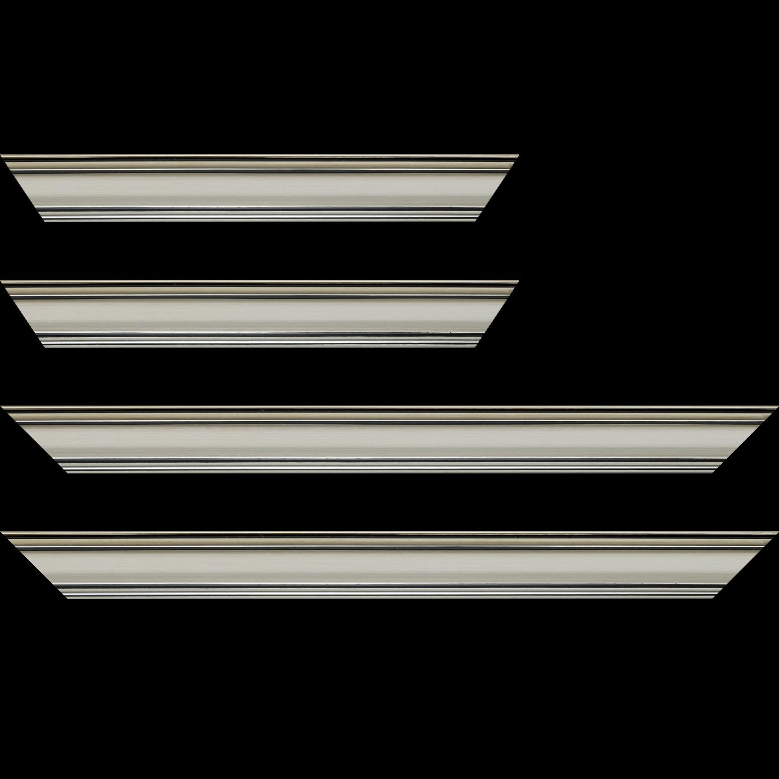 Baguette service précoupé bois profil bombé largeur 5cm couleur argent chaud filet noir